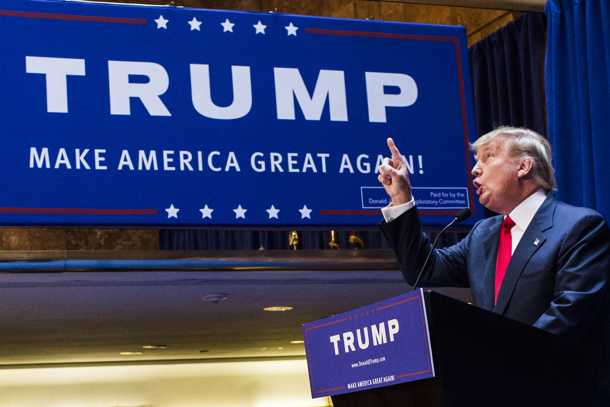 Business mogul Donald Trump points as he gives a speech as he announces his candidacy for the U.S. presidency at Trump Tower on June 16, 2015 in New York City.  Trump is the 12th