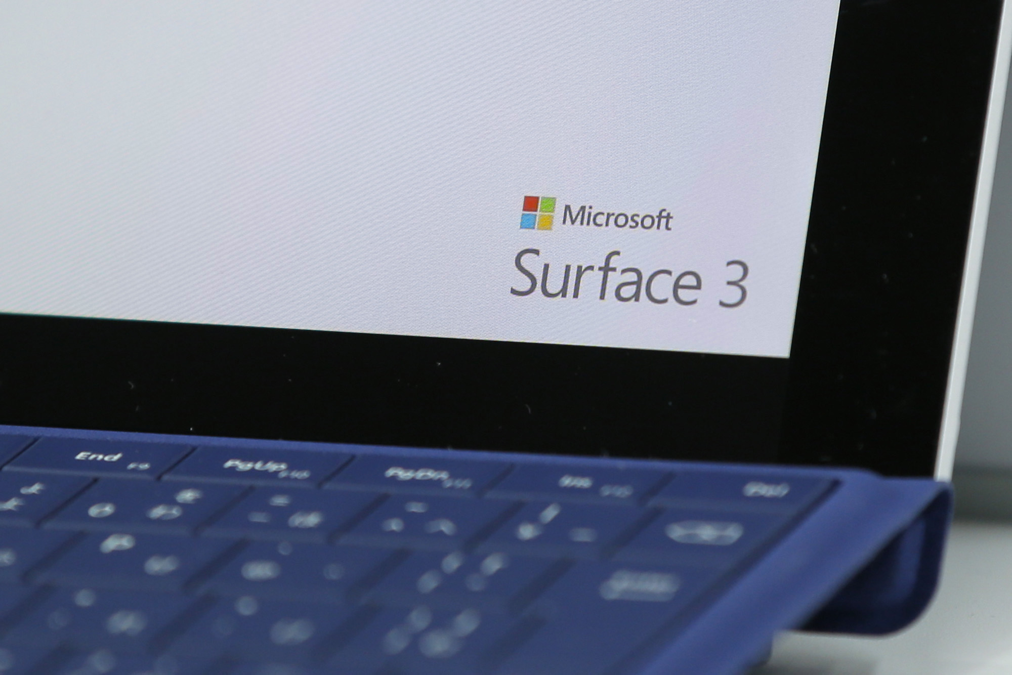 The logo for Microsoft Corp.'s Surface 3 LTE tablet is displayed on the device at a Bic Camera Inc. electronics store in Tokyo, Japan, on Friday, June 19, 2015.