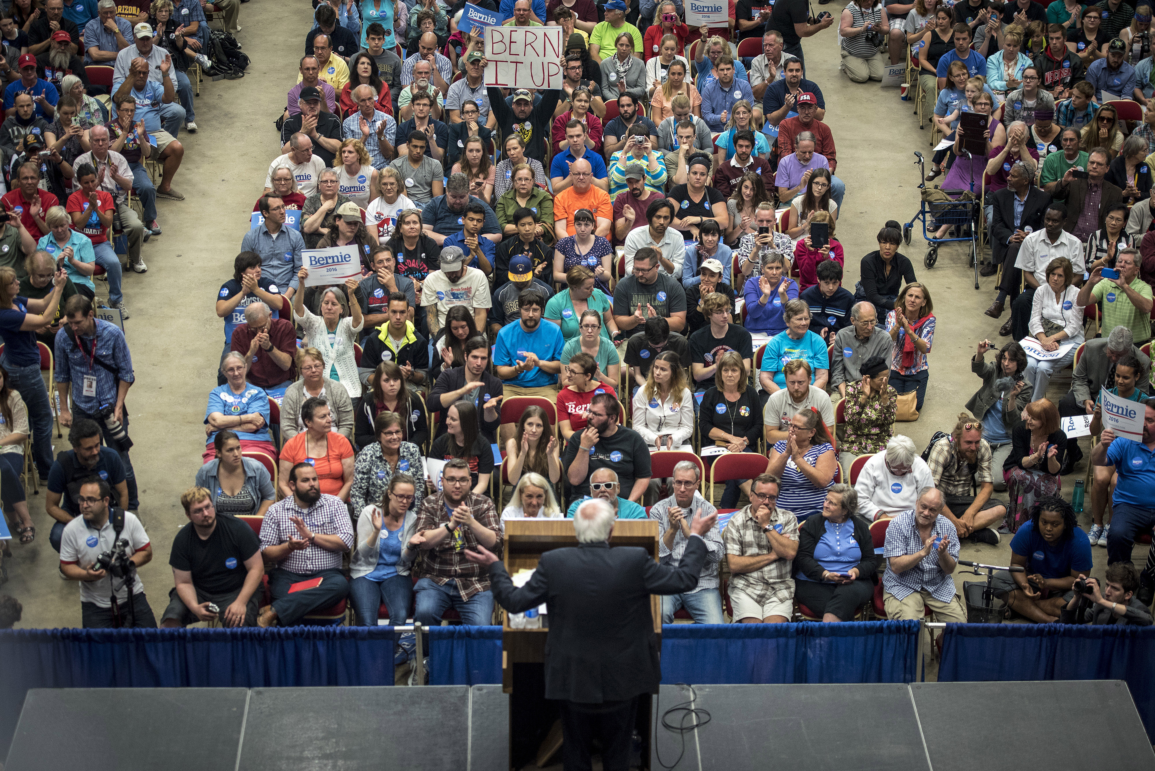 U.S. Senator Bernie Sanders, an Independent from Vermont and 2016 U.S. presidential candidate, speaks during a campaign rally in Madison, Wisconsin, U.S., on Wednesday, July 1, 2015.