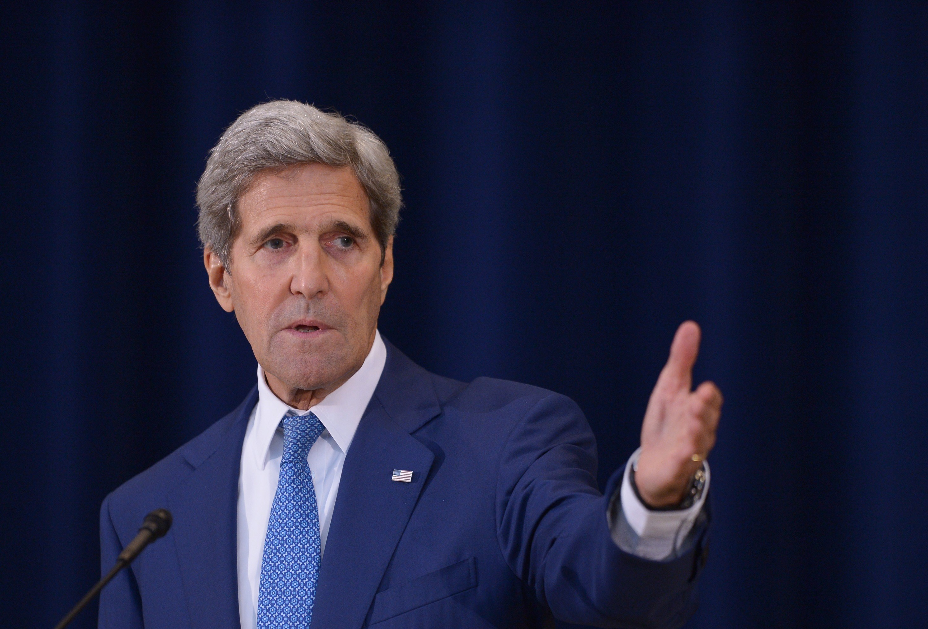 US Secretary of State John Kerry speaks during the release of  the 2015 Trafficking in Persons Report  on July 27, 2015 at the State Department in Washington, DC.
