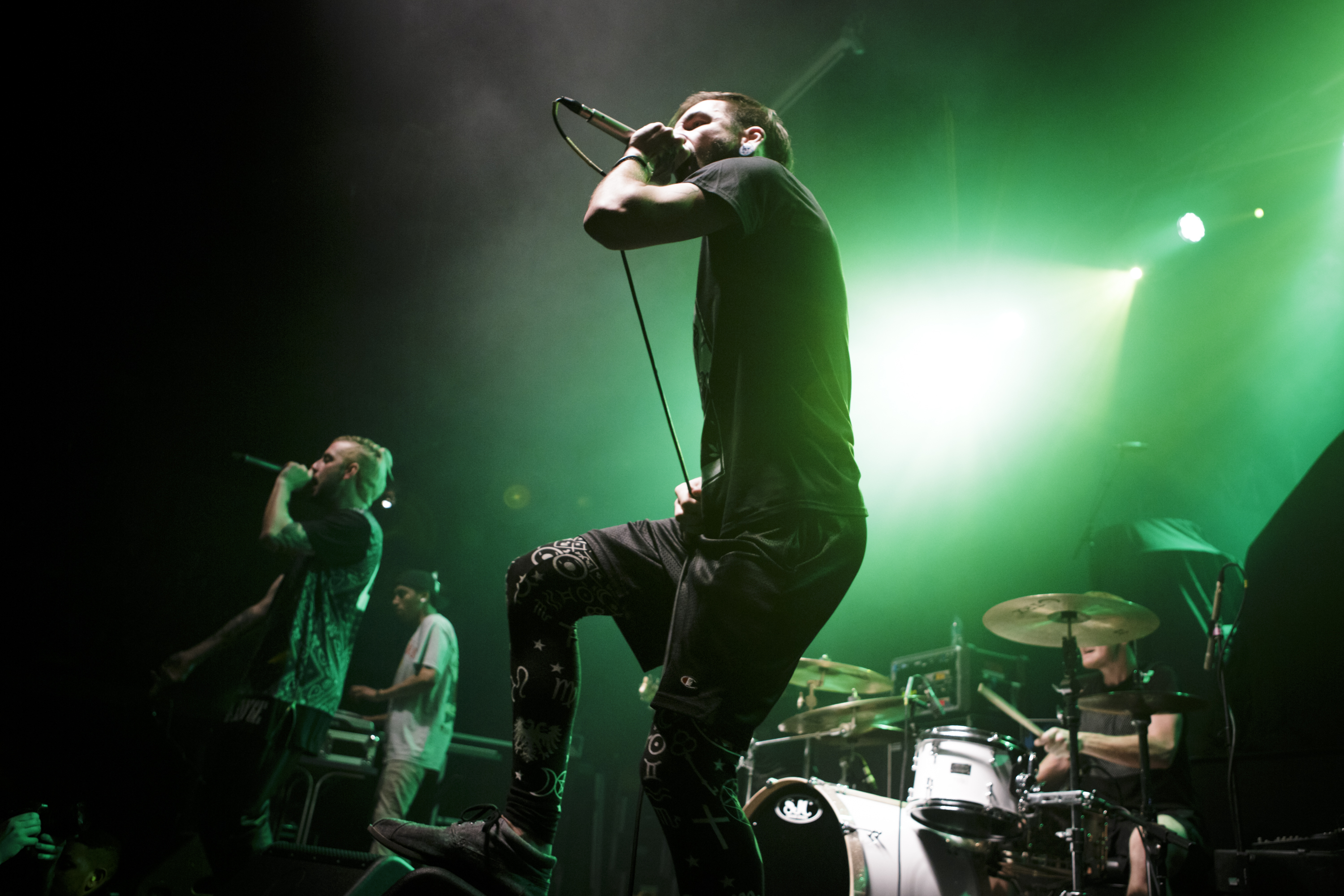 Tyler Carter and Michael Bohn of Issues perform on stage at The Ritz, Manchester on April 19, 2014 in Manchester, United Kingdom