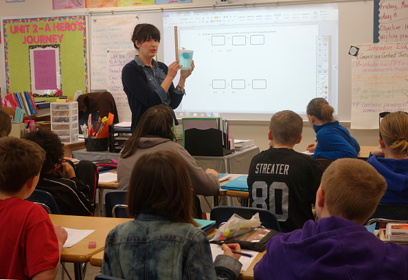 6th Grade Math Lesson, Wellsville, New York. (Photo by: Education Images/UIG via Getty Images)