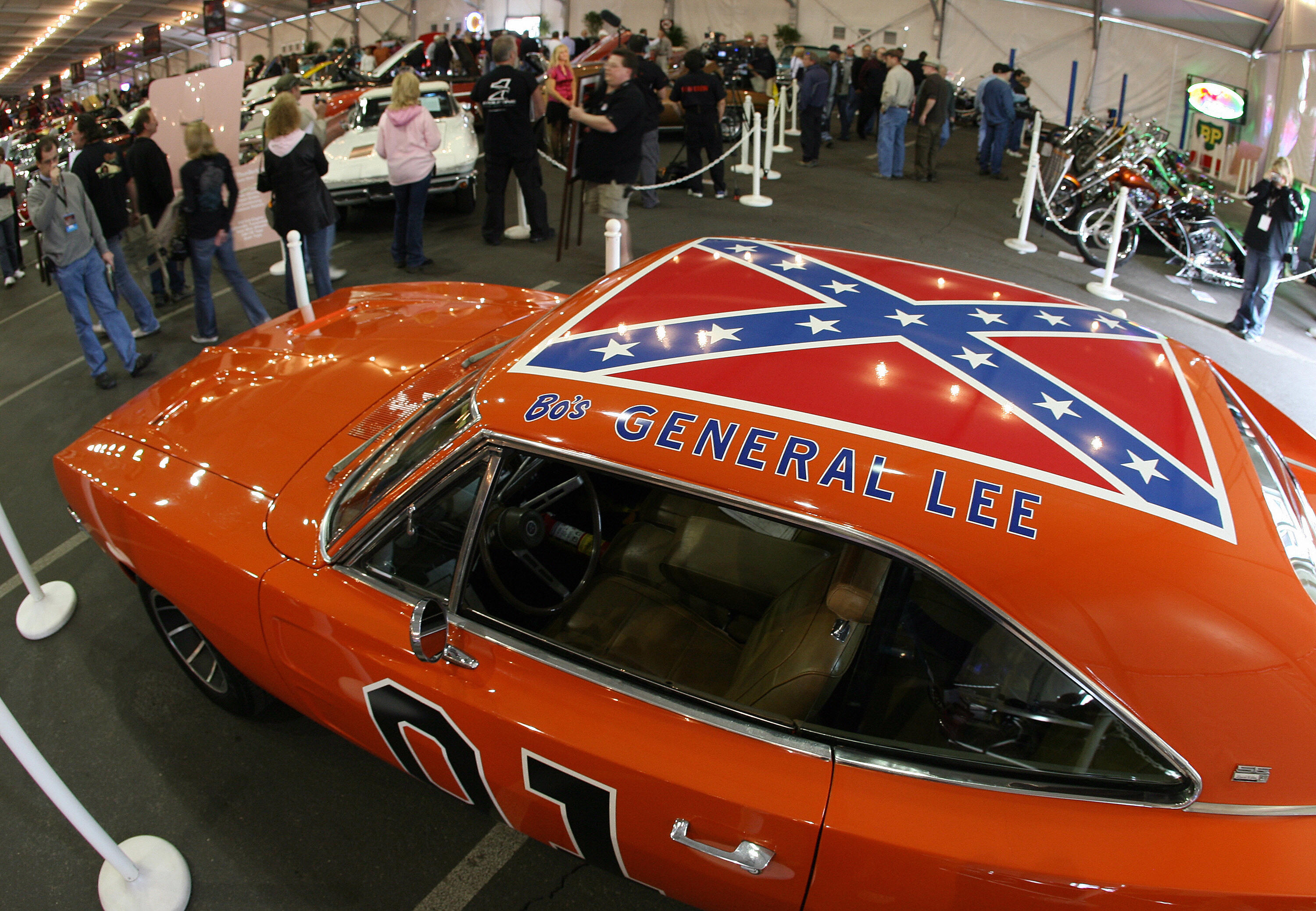 A 1969 Dodge Charger, dubbed 'The General Lee' from the TV series 'The Dukes of Hazzard', is displayed during the 37th Annual Barrett-Jackson Collector Cars auction in Scottsdale, Arizona, 16 January 2008. The Barrett-Jackson auction company specializes in classic and collectors cars, and their auction in Scottsdale is the world's largest collector car event.