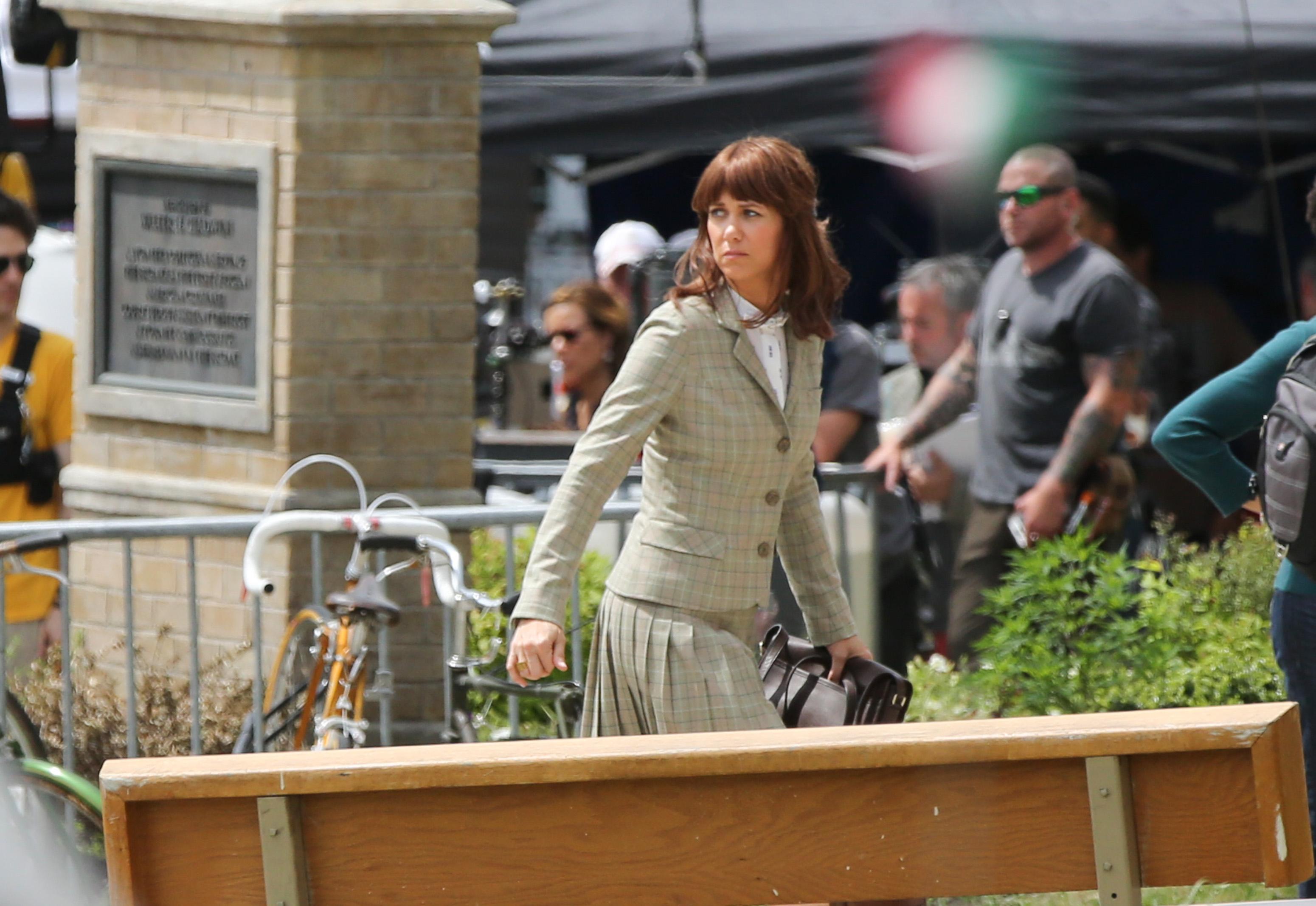 Kristen Wiig is seen on the set of 'Ghostbusters' on June 18, 2015 in Boston, Massachusetts.