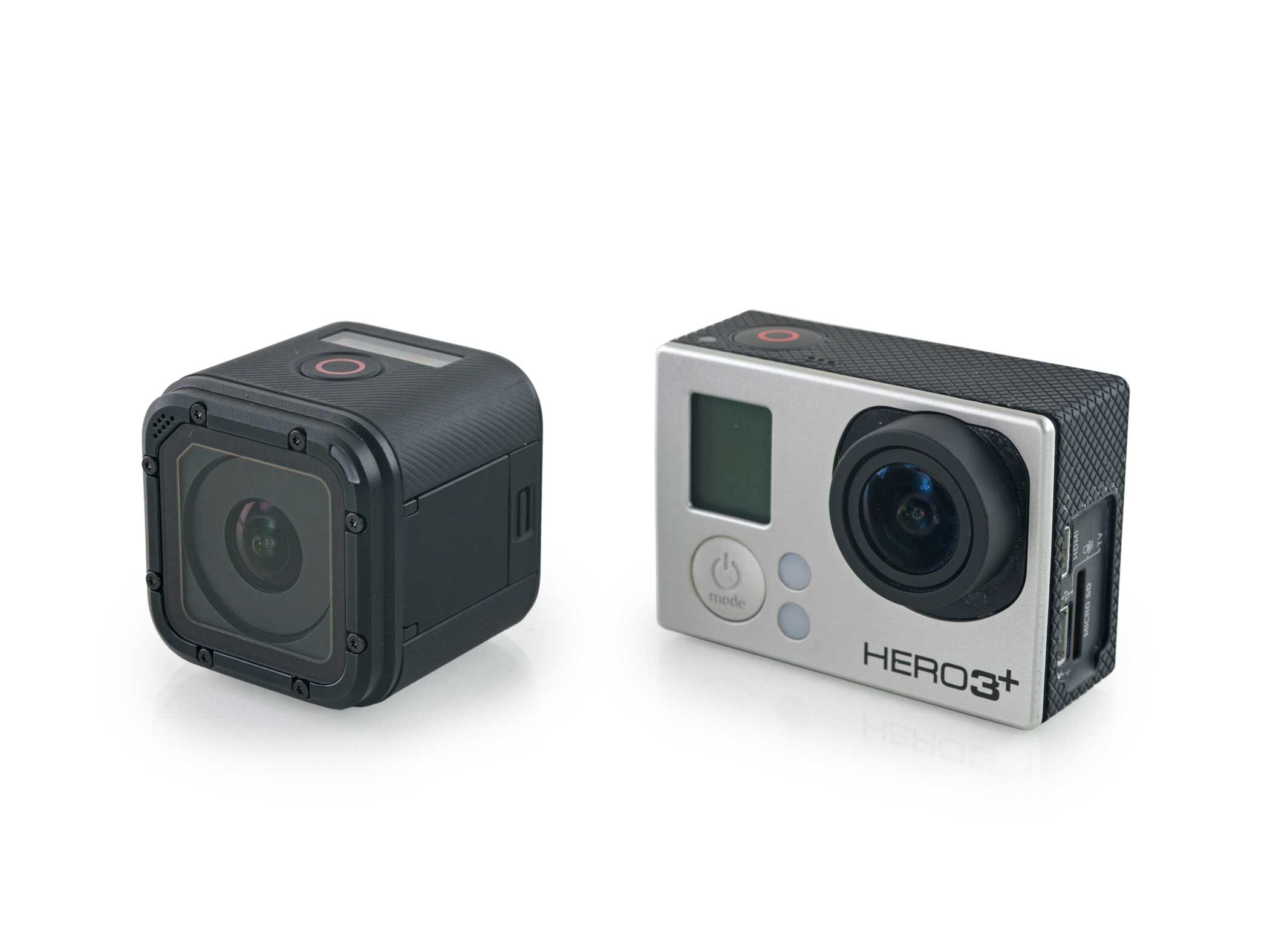 The GoPro HERO4 Session (left) compared to a GoPro HERO3 (right).