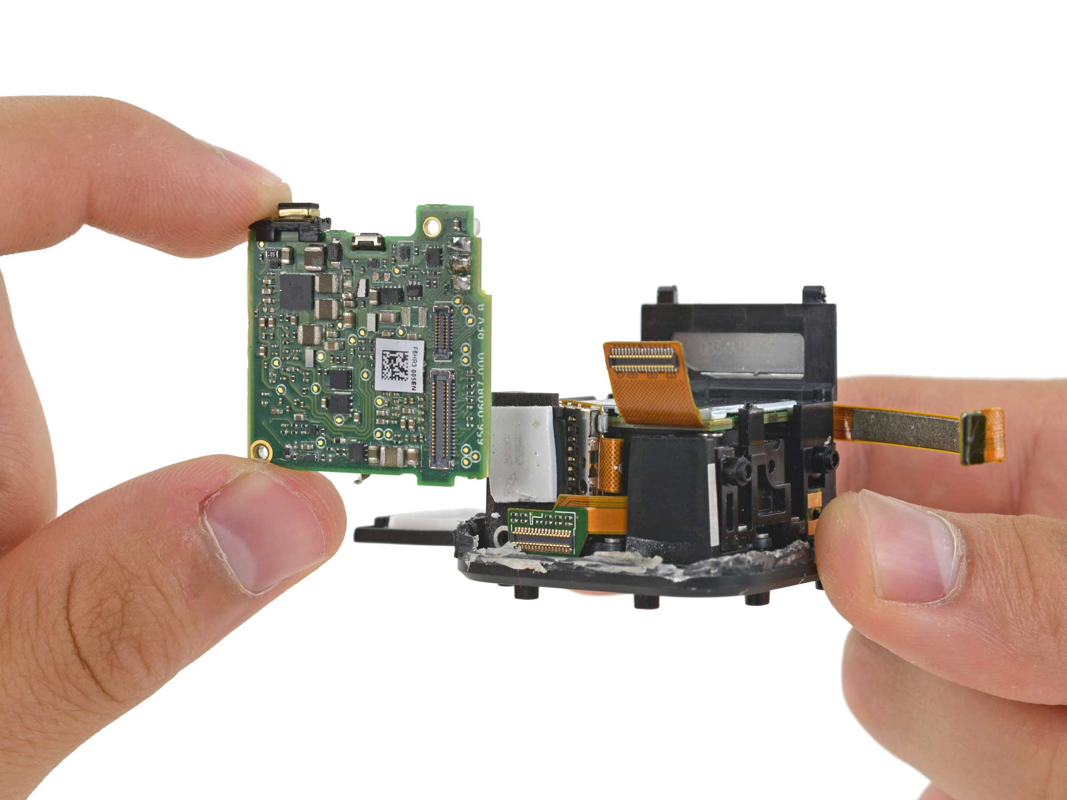 Here we see the tiny technical guts that make an action camera as small as the Session possible.