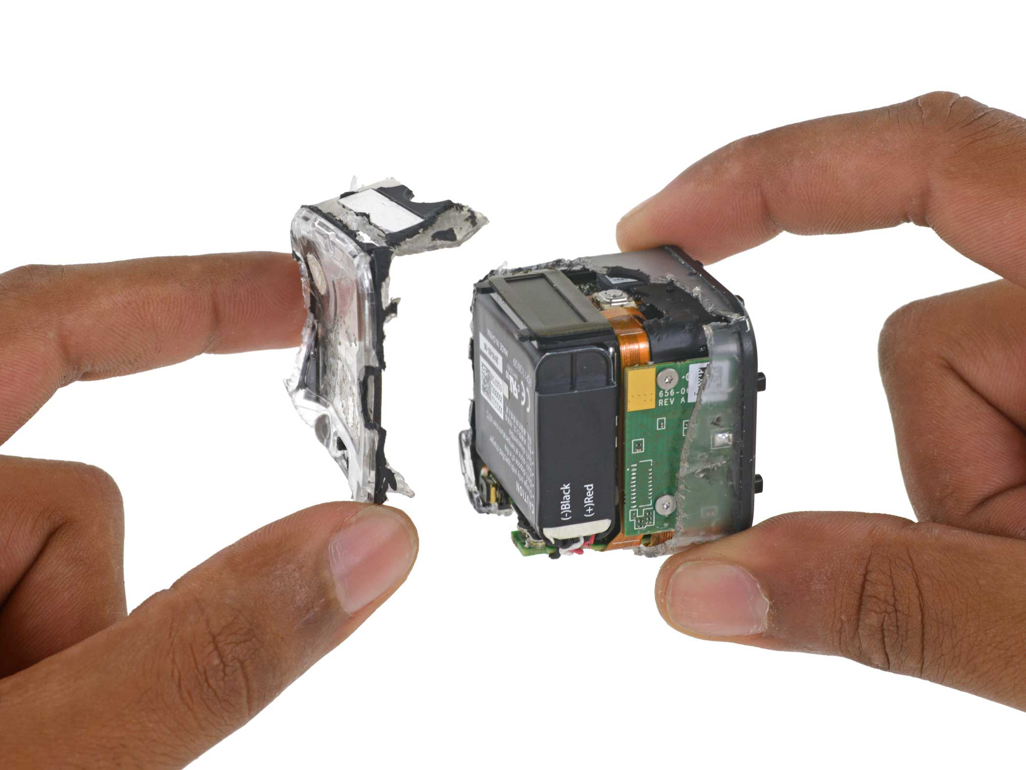 Cracking open the protective casing (don't try this at home) exposes the internal battery.