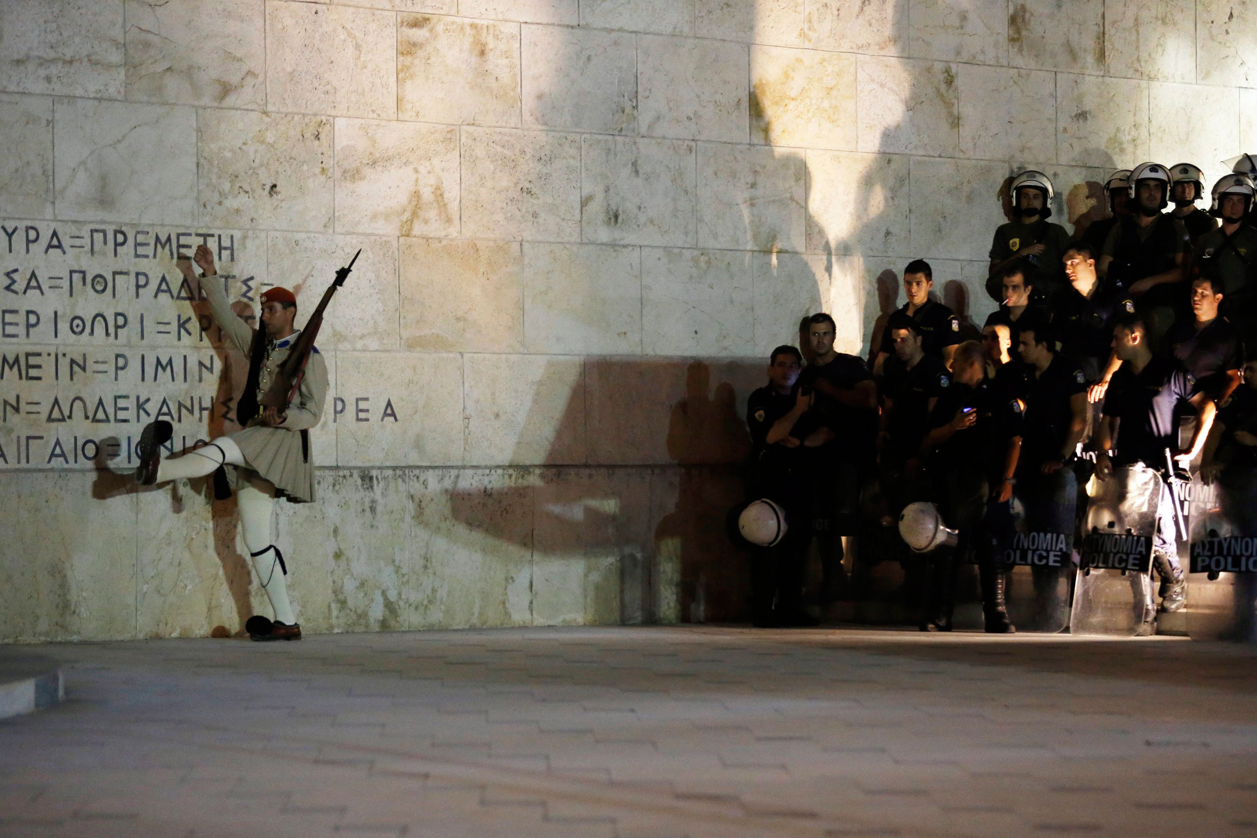 Greek special forces members guard the Parliament in Syntagma Square after the referendum in Athens on July 5, 2015.