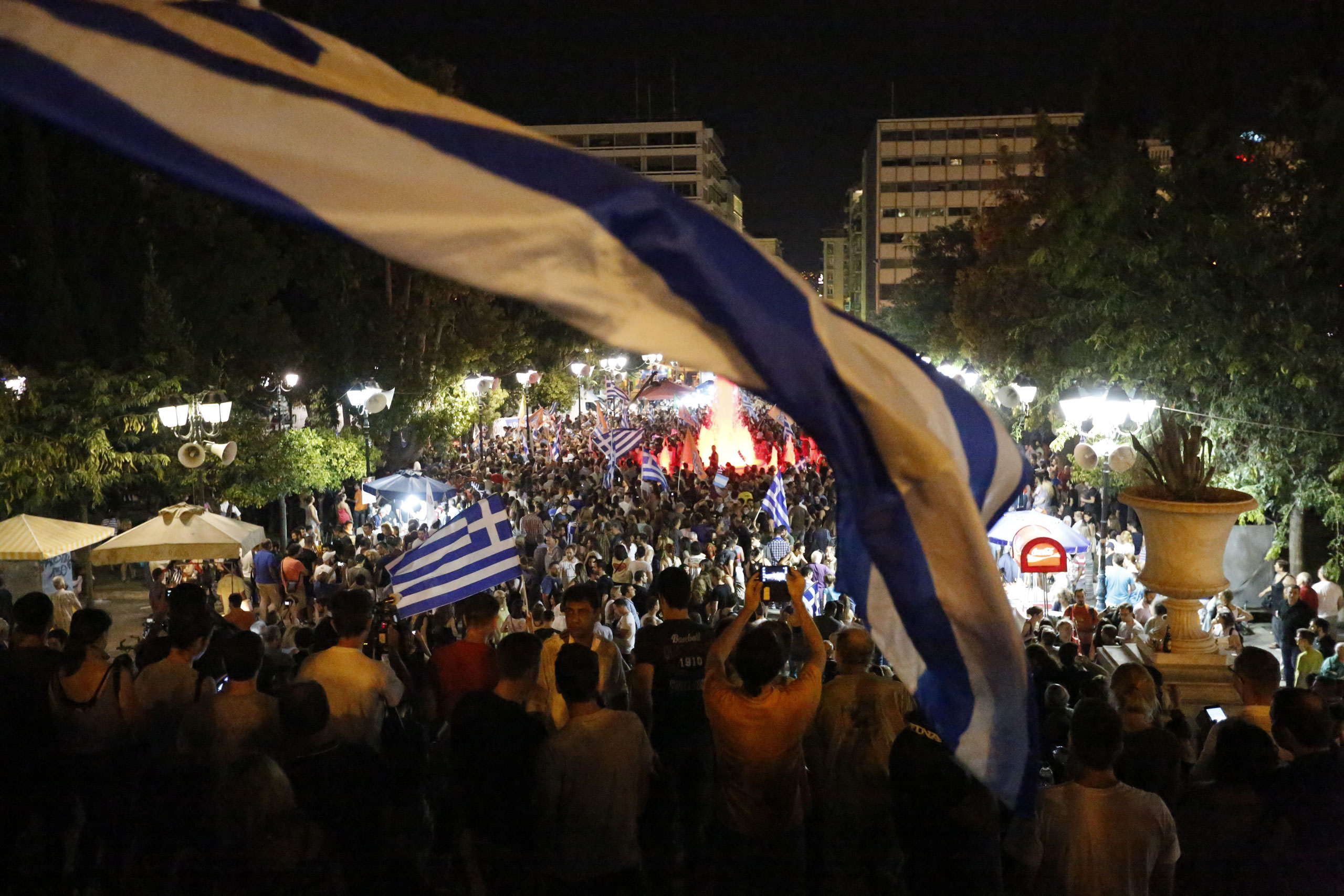 "Tens of thousands of Greeks came to the city center to celebrate the victory of the ""No"" campaign in Athens on July 5, 2015."
