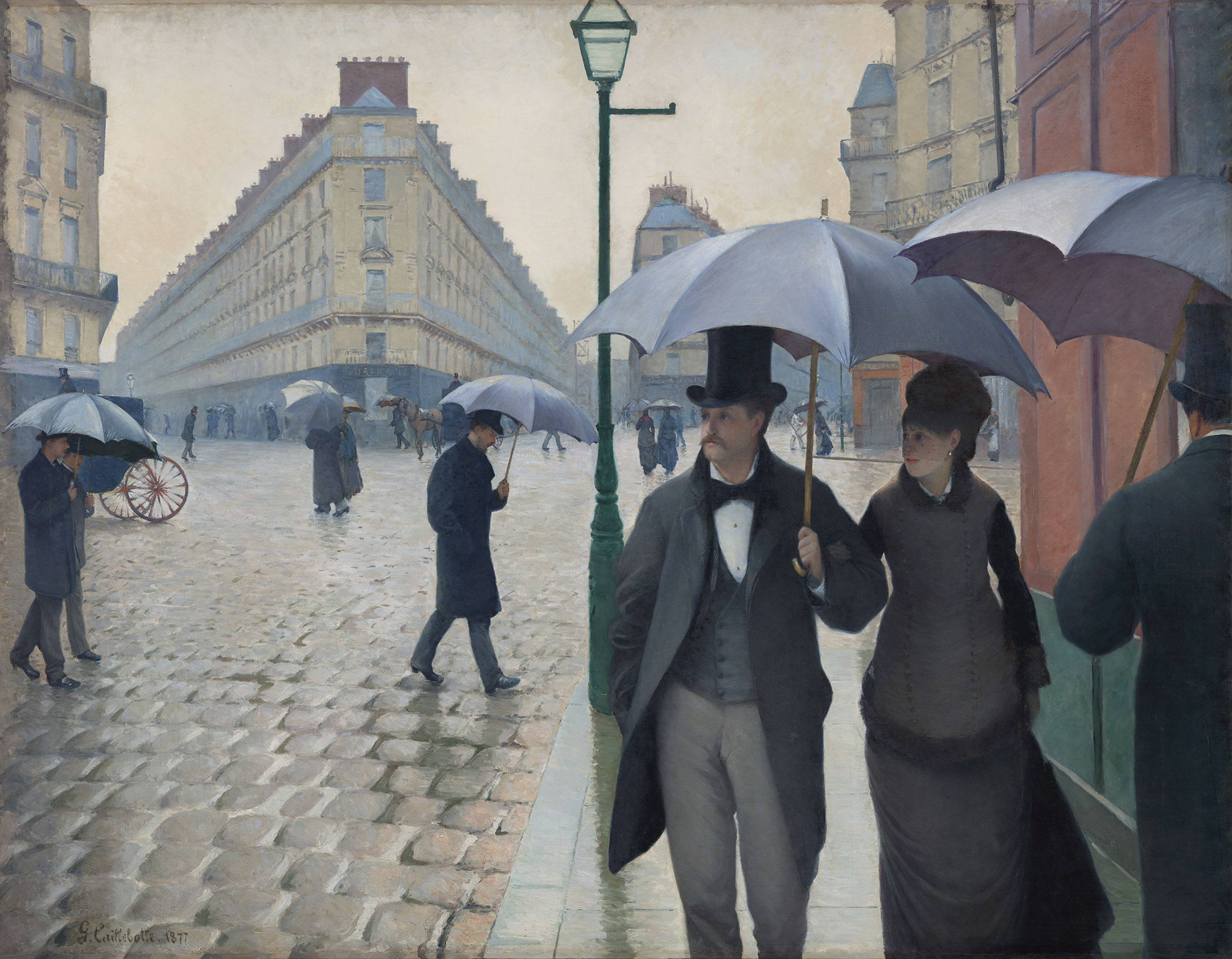 Paris Street, Rainy Day, 1877. Plunging perspectives and sliced figures suggest the aggressive angles of modernism to come.
