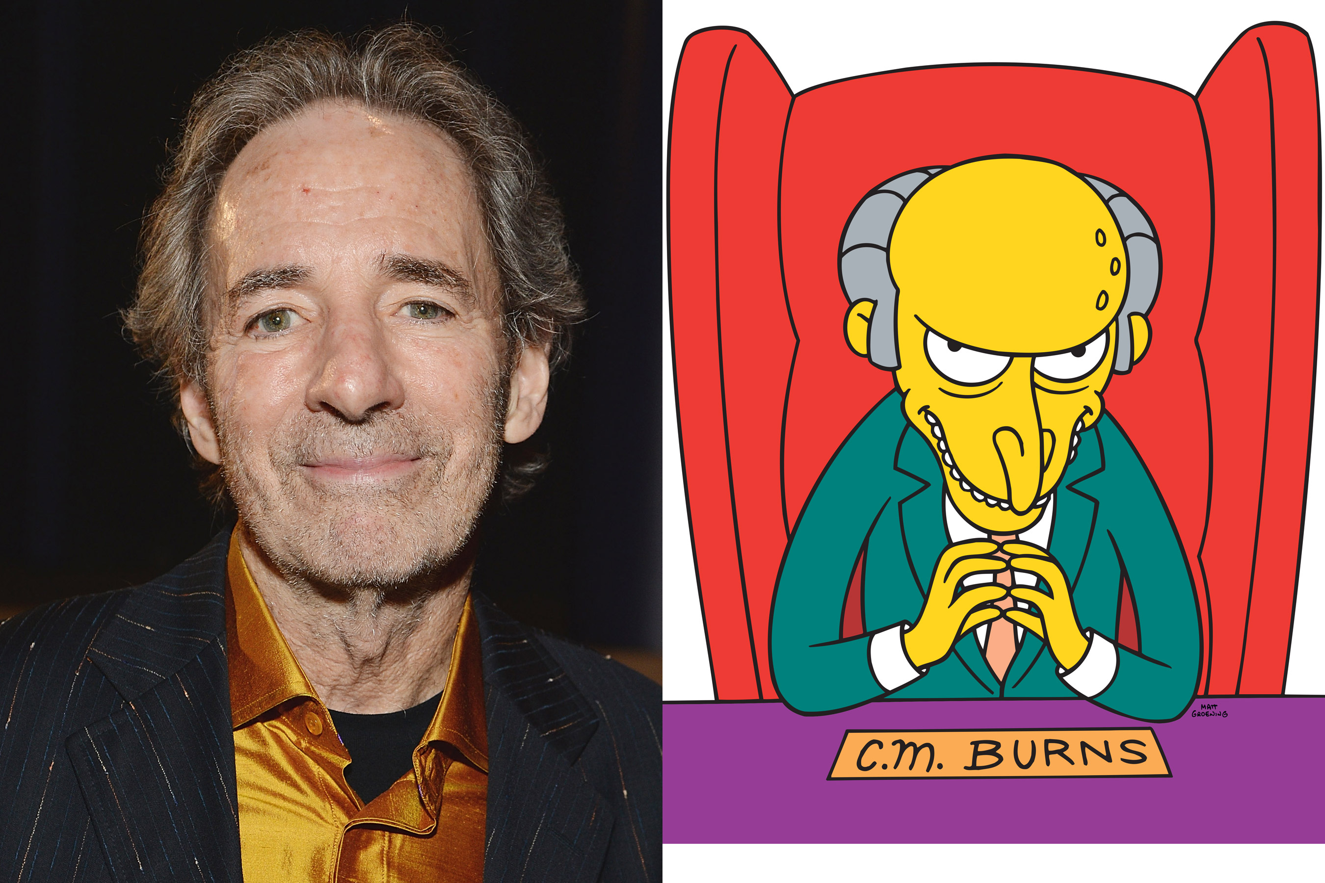 Harry Shearer, left, voices numerous characters on The Simpsons including that of Mr. Burns.