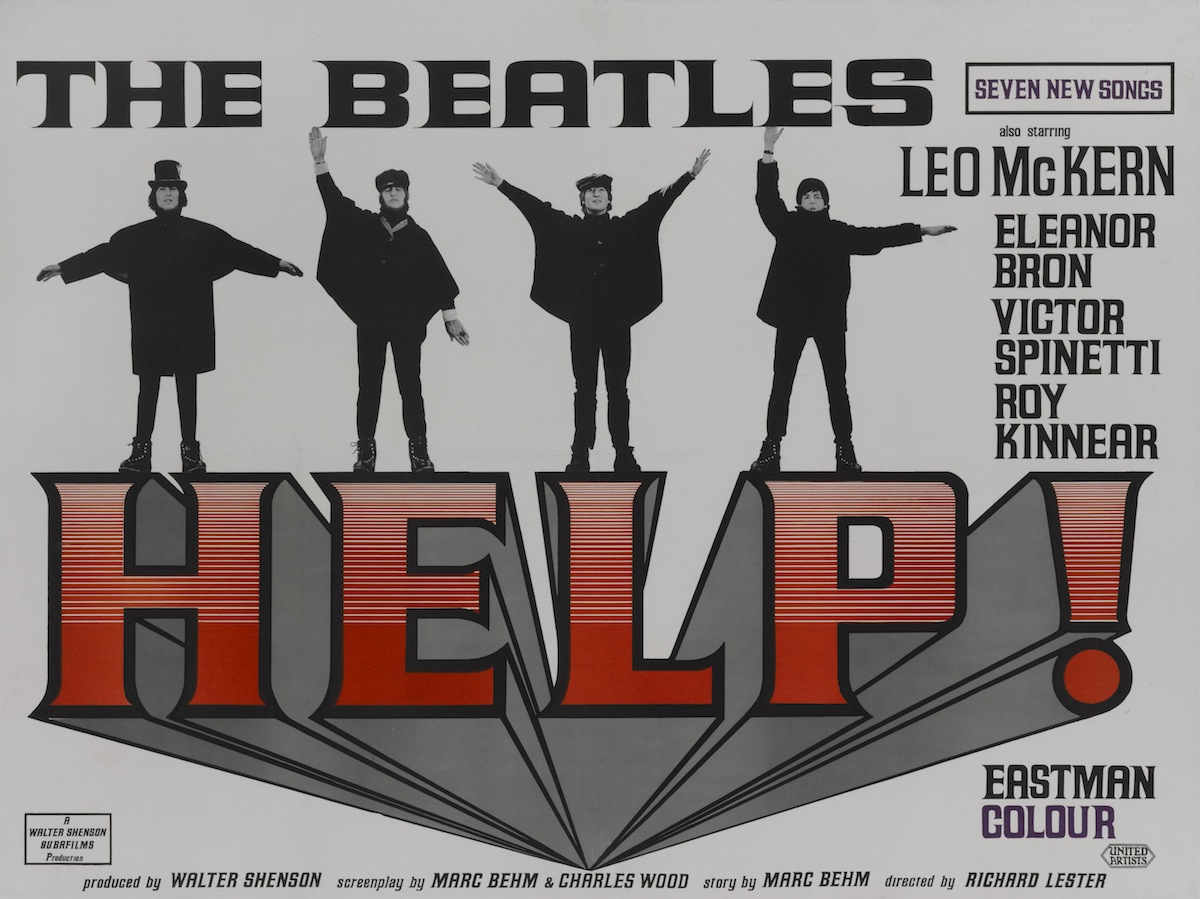 A poster for Richard Lester's 1965 musical film 'Help!' starring The Beatles.