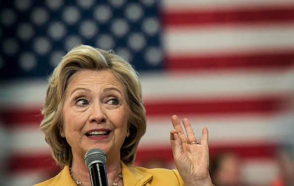 Secretary Hillary Clinton speaks to voters at a town hall meeting in Nashua, New Hampshire, on Tuesday, July 28, 2015.