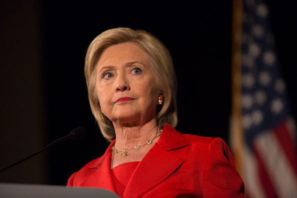 Hillary Clinton, former U.S. secretary of state and 2016 Democratic presidential candidate, pauses while speaking during the Iowa Democratic Party Hall of Fame Celebration dinner in Cedar Rapids, Iowa, U.S., on Friday, July 17, 2015.