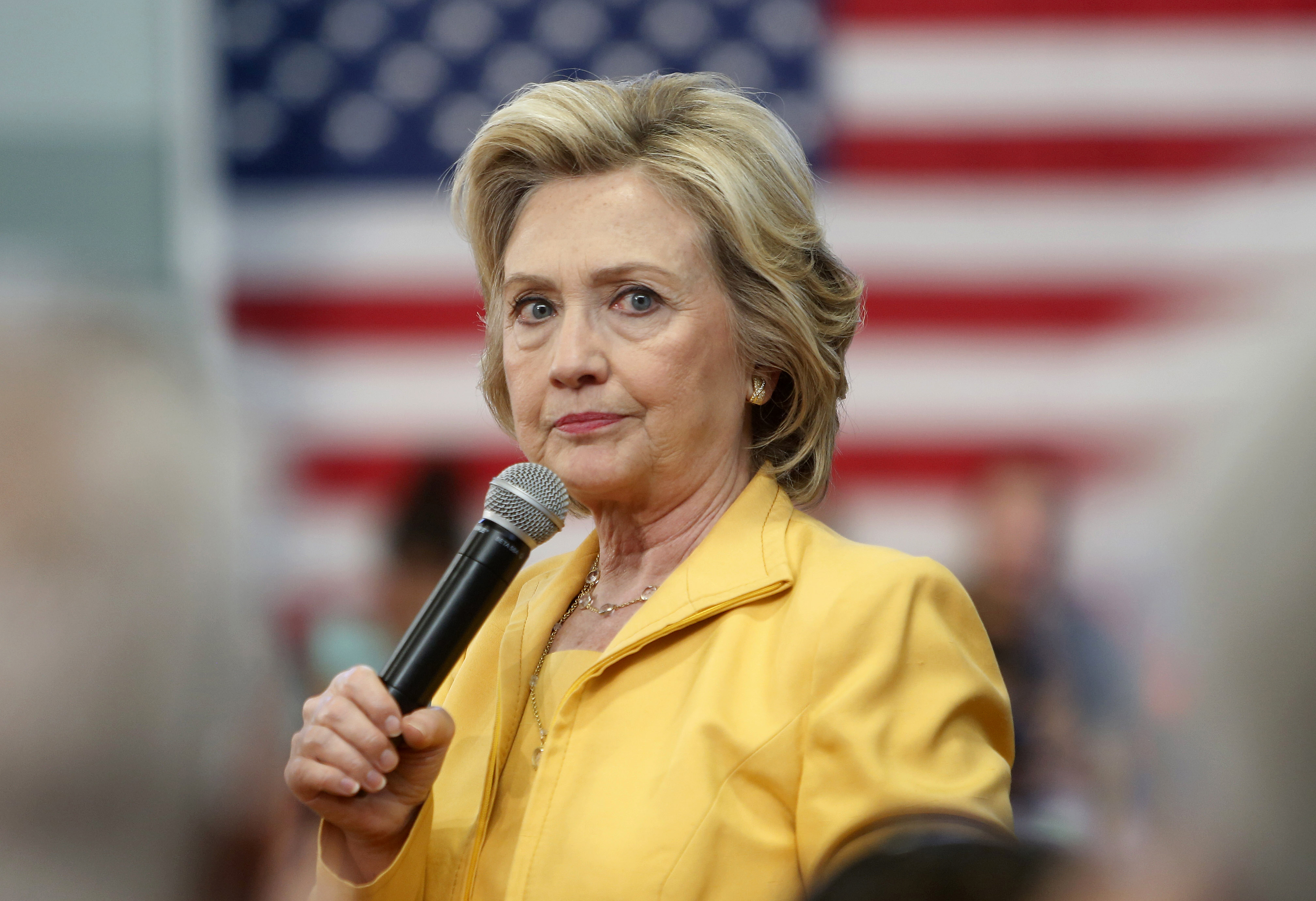 Democratic presidential candidate Hillary Rodham Clinton listens to questions during a campaign stop on July 28, 2015, in Nashua, N.H.