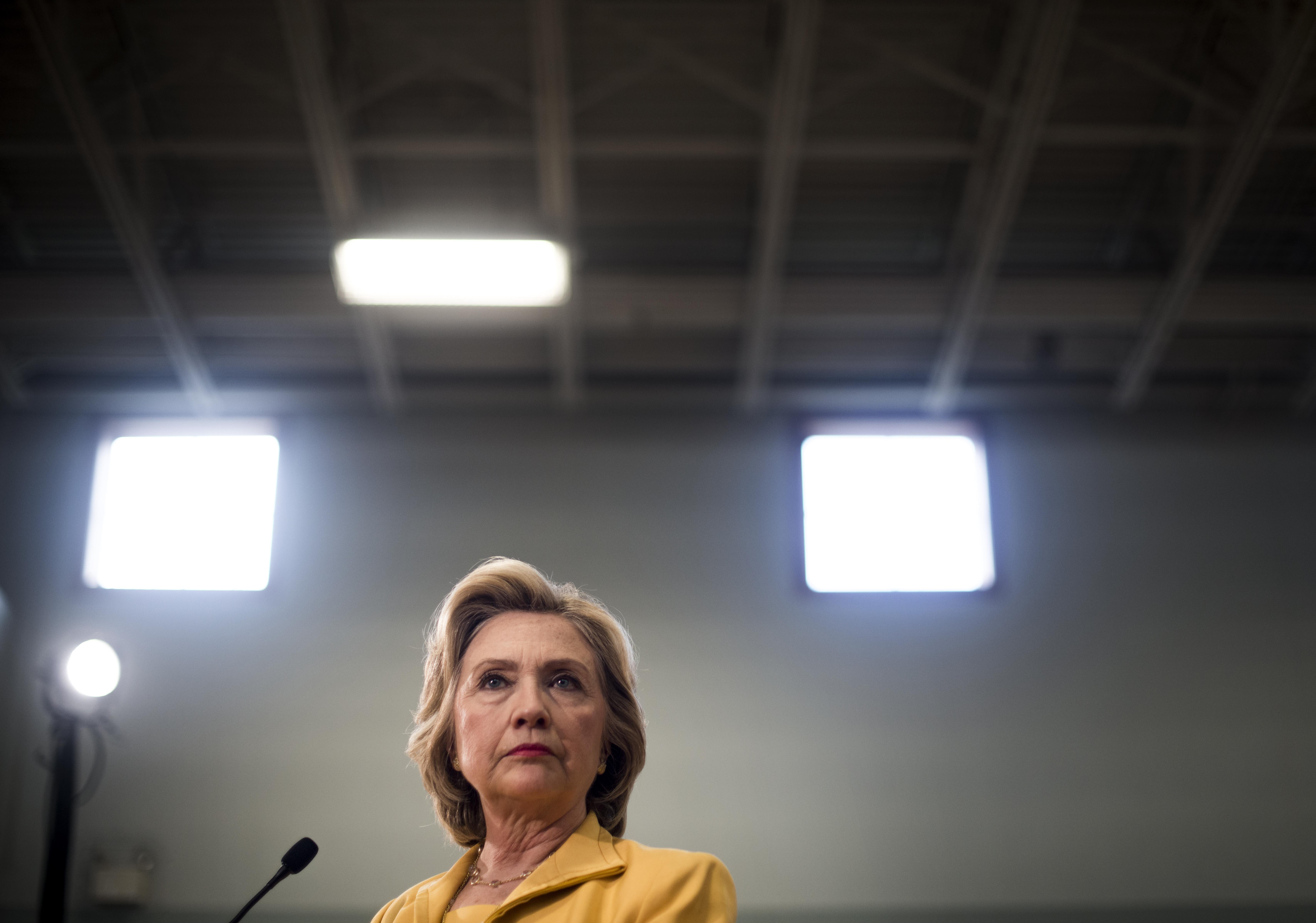 Secretary Hillary Clinton speaks to journalists after a town hall meeting in Nashua, New Hampshire, on July 28, 2015.
