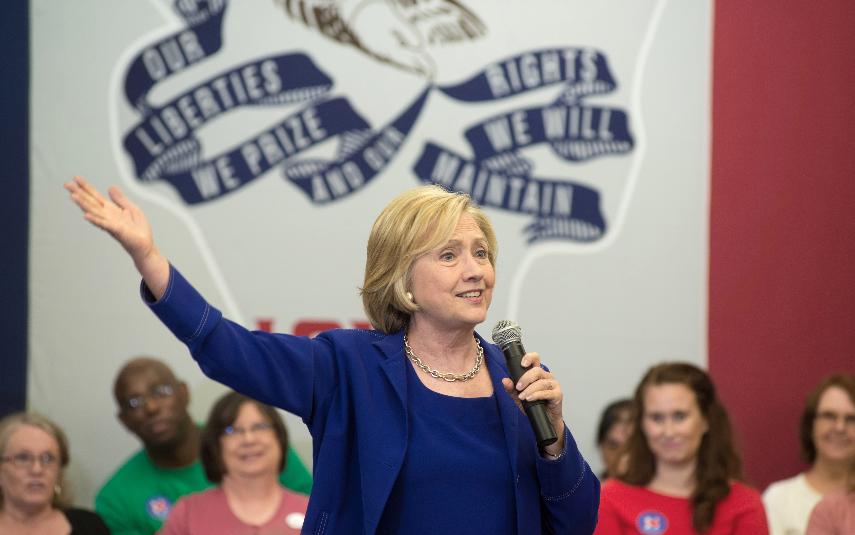 Former Secretary of State and presidential candidate Hillary Clinton addresses supporters at an organizational rally at the Iowa City Public Library in Iowa City, Iowa, on July 7, 2015.