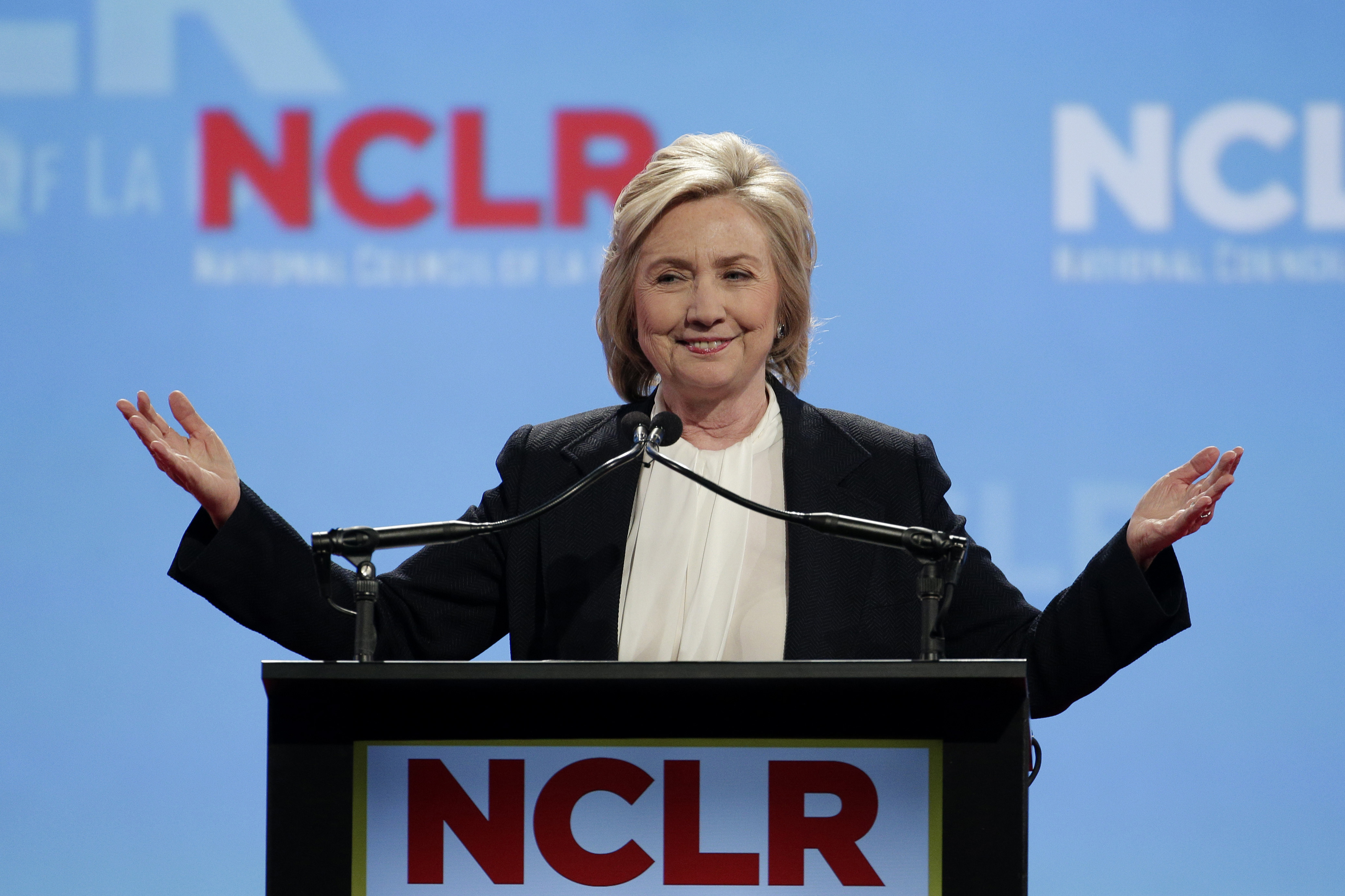 Democratic presidential candidate Hillary Rodham Clinton speaks at a the National Council of La Raza Annual Conference on July 13, 2015, in Kansas City, Mo.