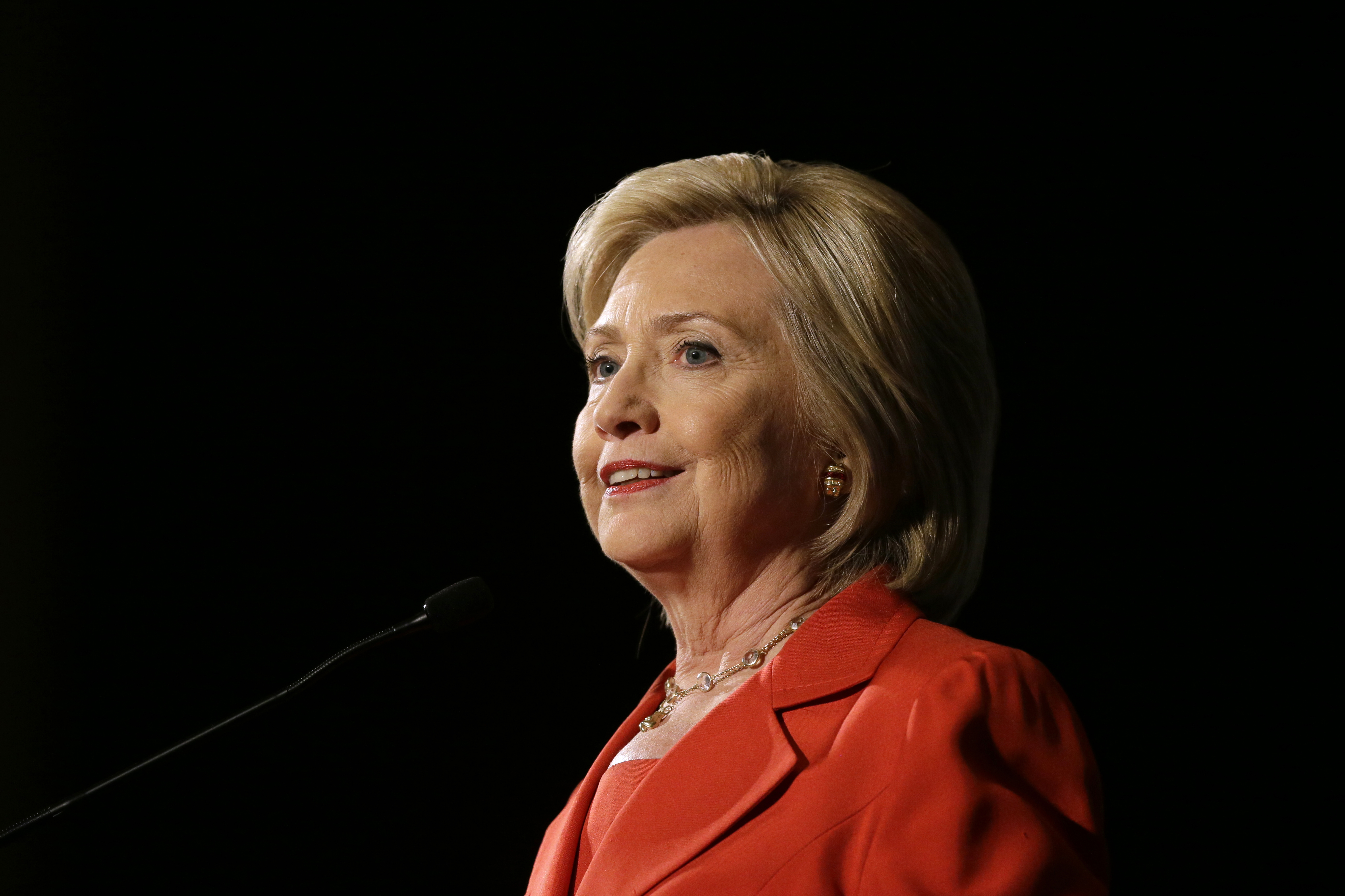 Democratic presidential candidate Hillary Rodham Clinton speaks during the Iowa Democratic Party's Hall of Fame Dinner on July 17, 2015, in Cedar Rapids, Iowa.