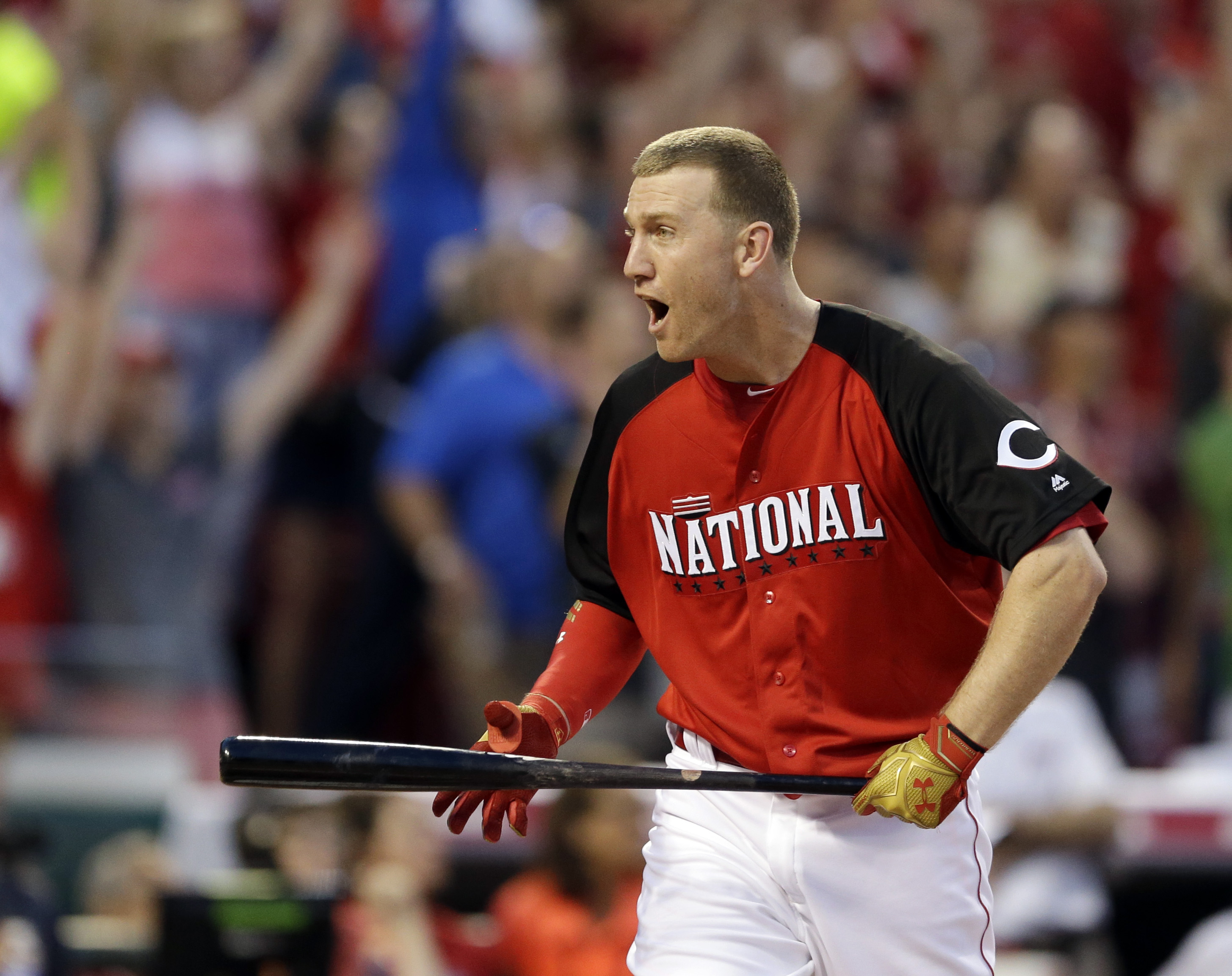 Todd Frazier of the  Cincinnati Reds reacts during the Home Run Derby in Cincinnati on July 13, 2015
