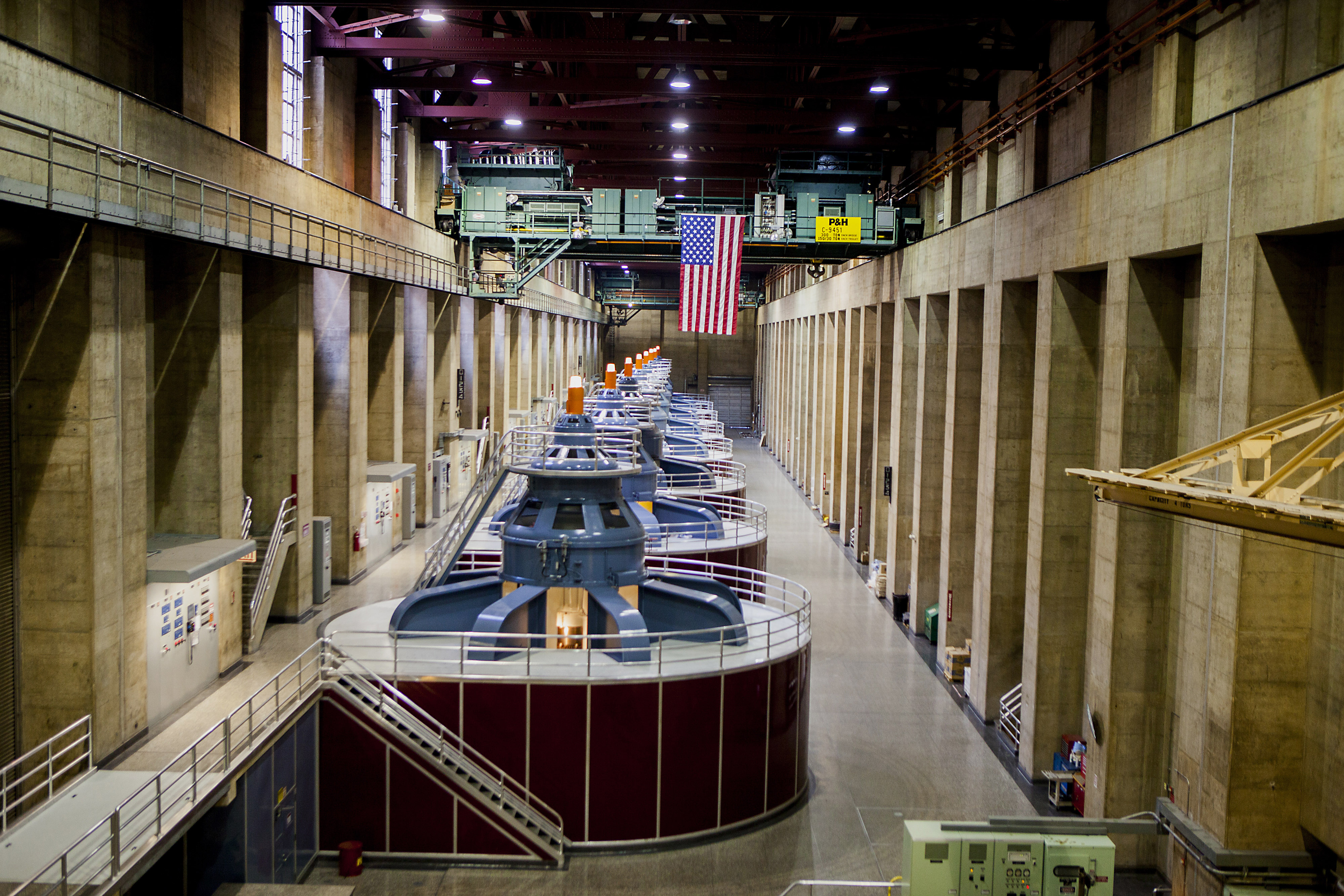 Turbines spin inside hydroelectric generators at the Hoover Dam in Boulder City, Nevada on March 24, 2014.