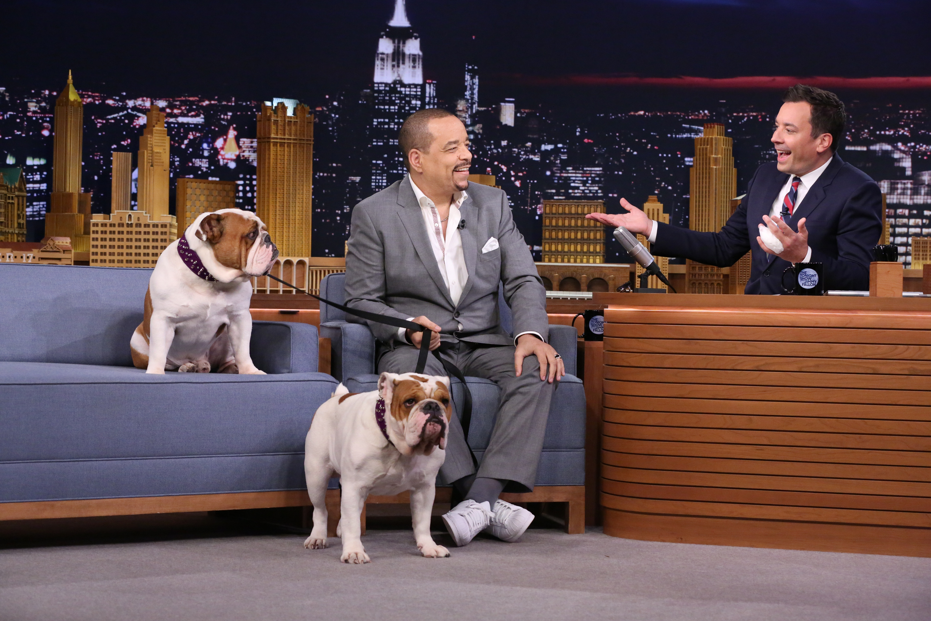 Actor Ice-T during an interview with host Jimmy Fallon on July 30, 2015