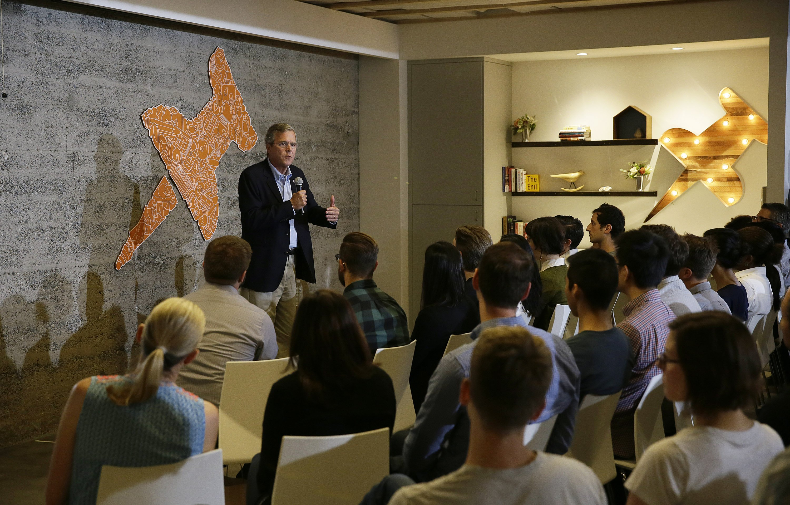Republican presidential candidate, former Florida Gov. Jeb Bush, gestures while speaking to employees at Thumbtack, an online startup on July 16, 2015, in San Francisco.