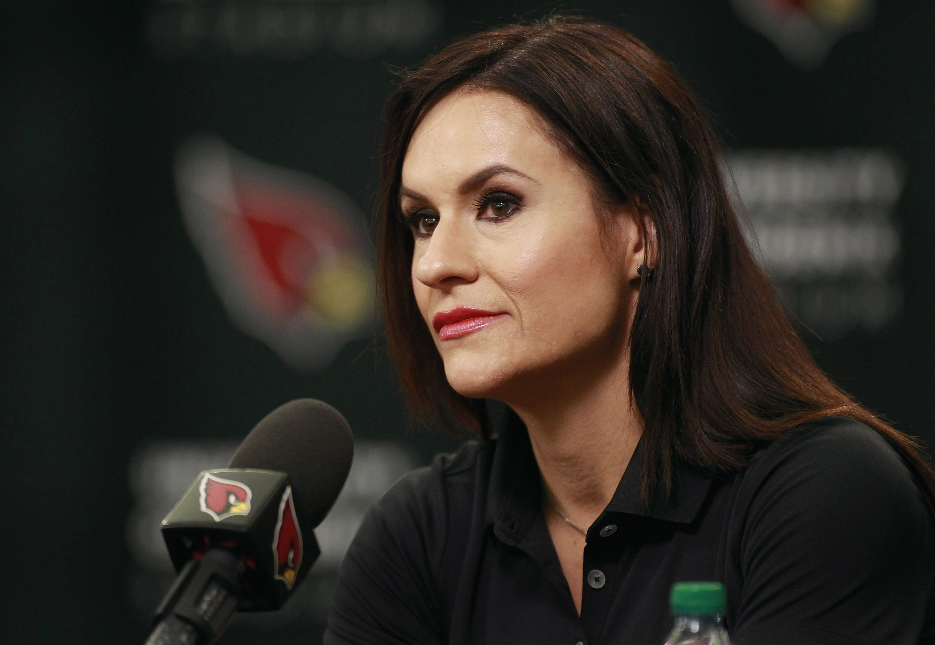 Jen Welter looks on during a press conference where she was named an intern coach for the Arizona Cardinals on July 28, 2015 in Tempe, Arizona.