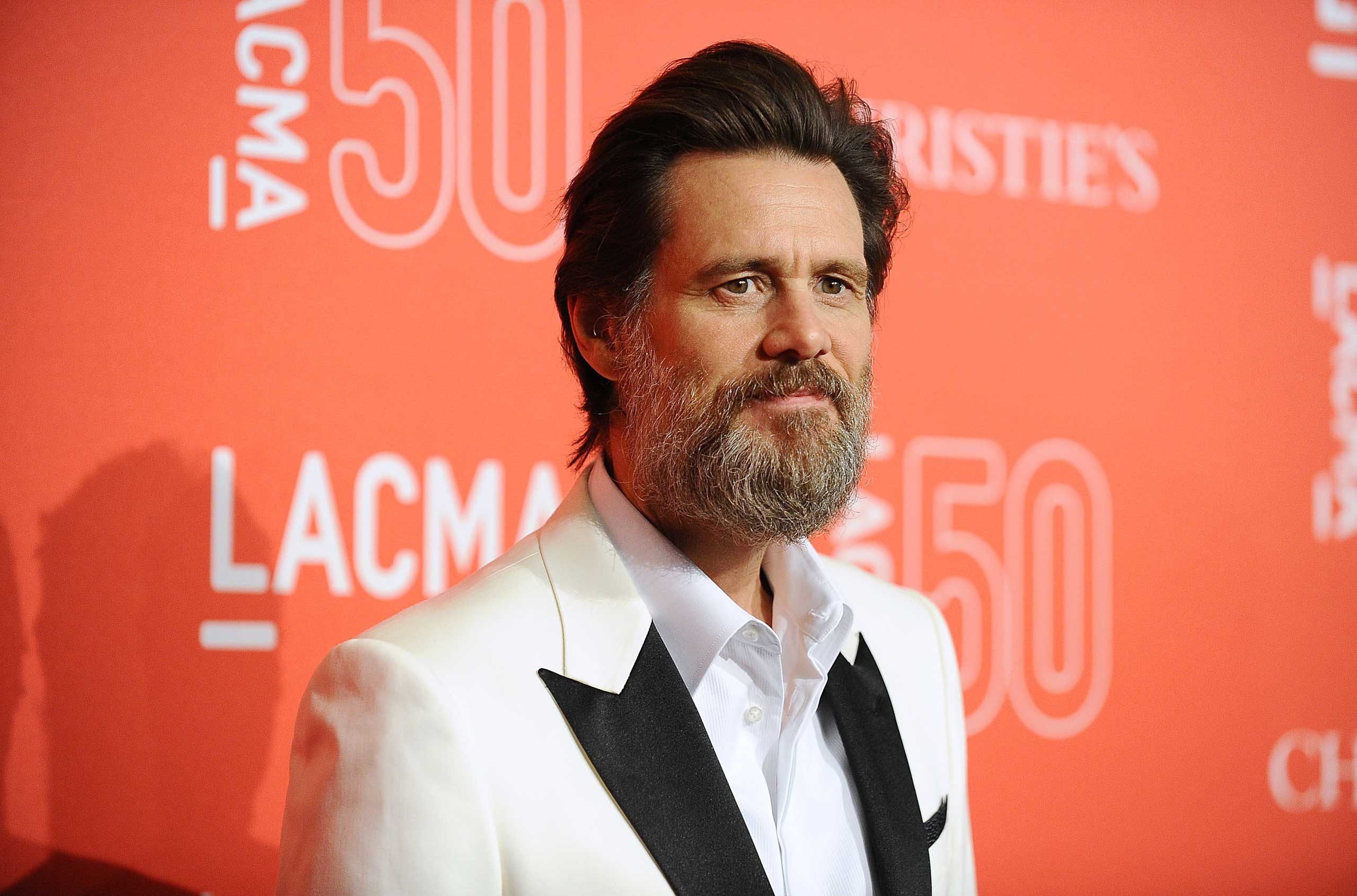 Actor Jim Carrey attends LACMA's 50th anniversary gala at LACMA in Los Angeles on April 18, 2015.