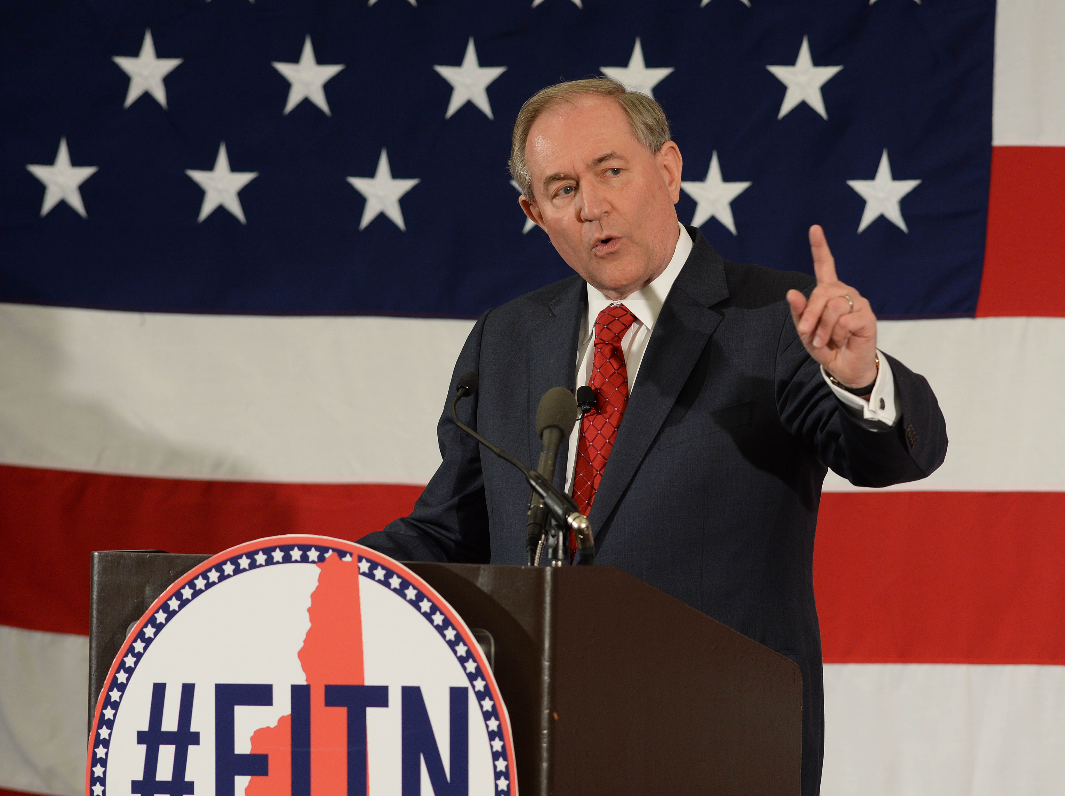 Former Virginia Gov. Jim Gilmore speaks at the First in the Nation Republican Leadership Summit on April 17, 2015, in Nashua, N.H.