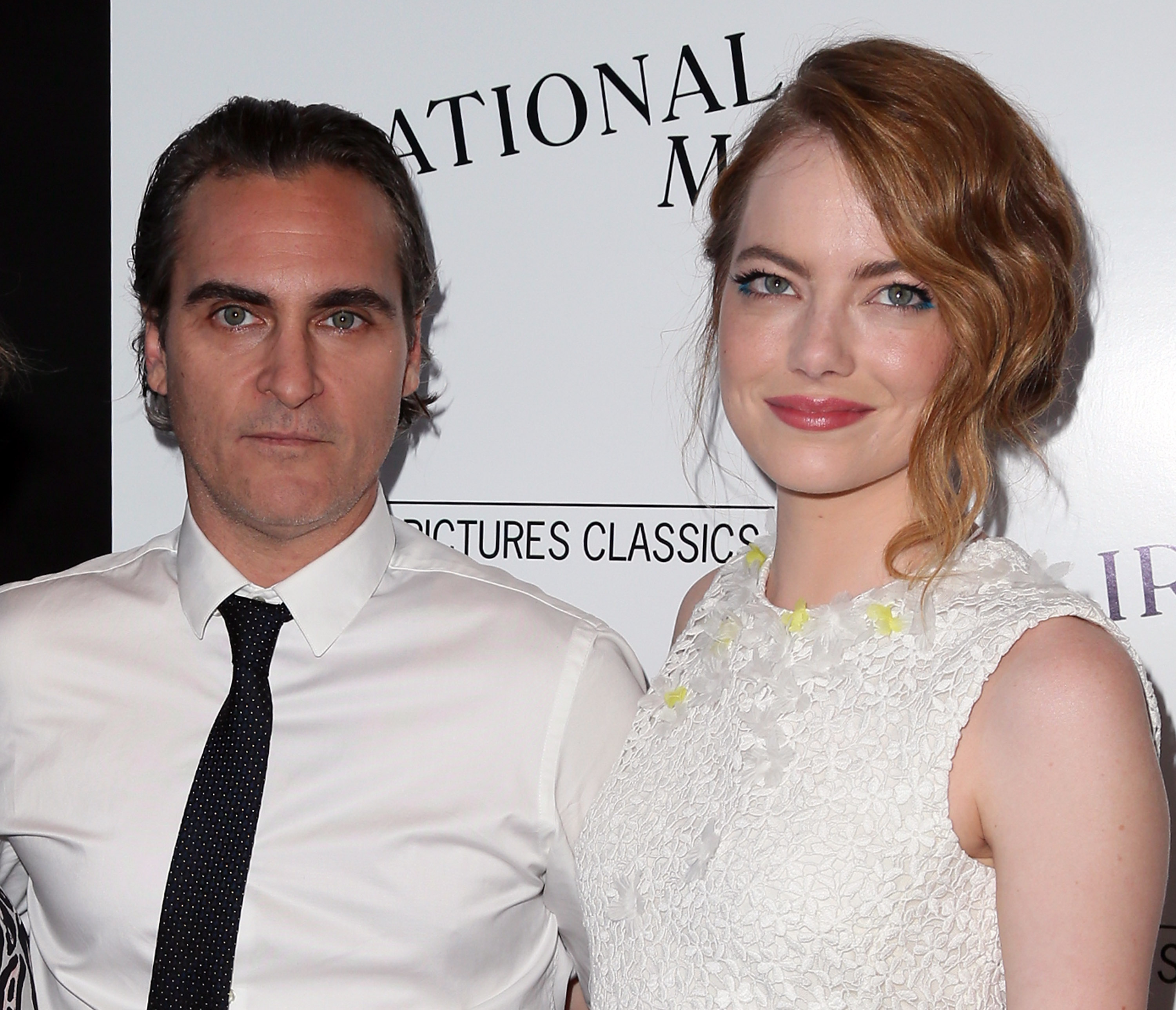 Joaquin Phoenix and Emma Stone attend the premiere of  Irrational Man  in Los Angeles on July 9, 2015.