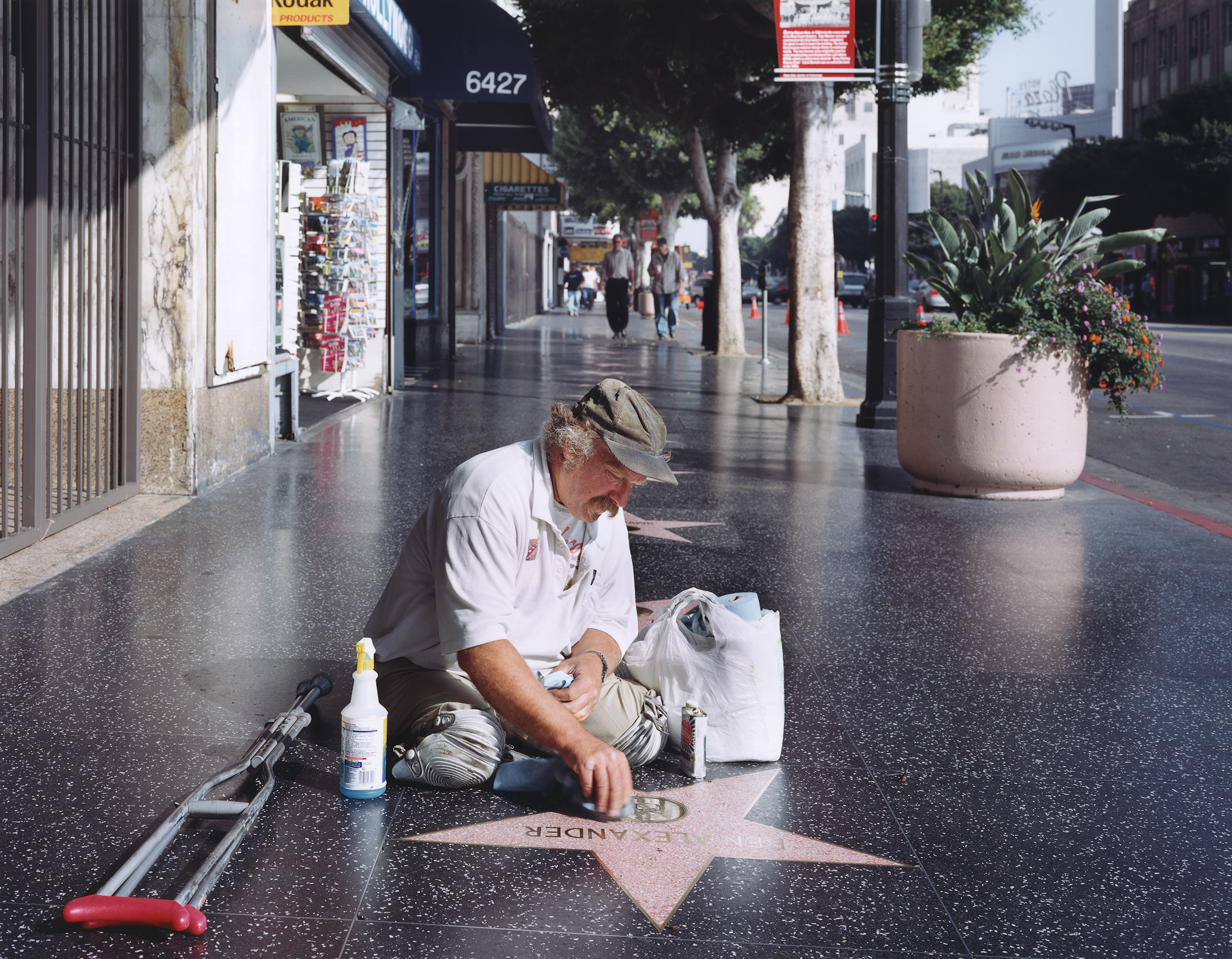 Legless star cleaner on the Hollywood Walk of Fame,                               2005
