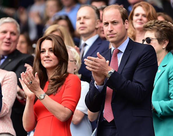 Catherine, Duchess of Cambridge (L) and Prince William (R), Duke of Cambridge attend the Wimbledon Lawn Tennis Championships in London on July 8, 2015.