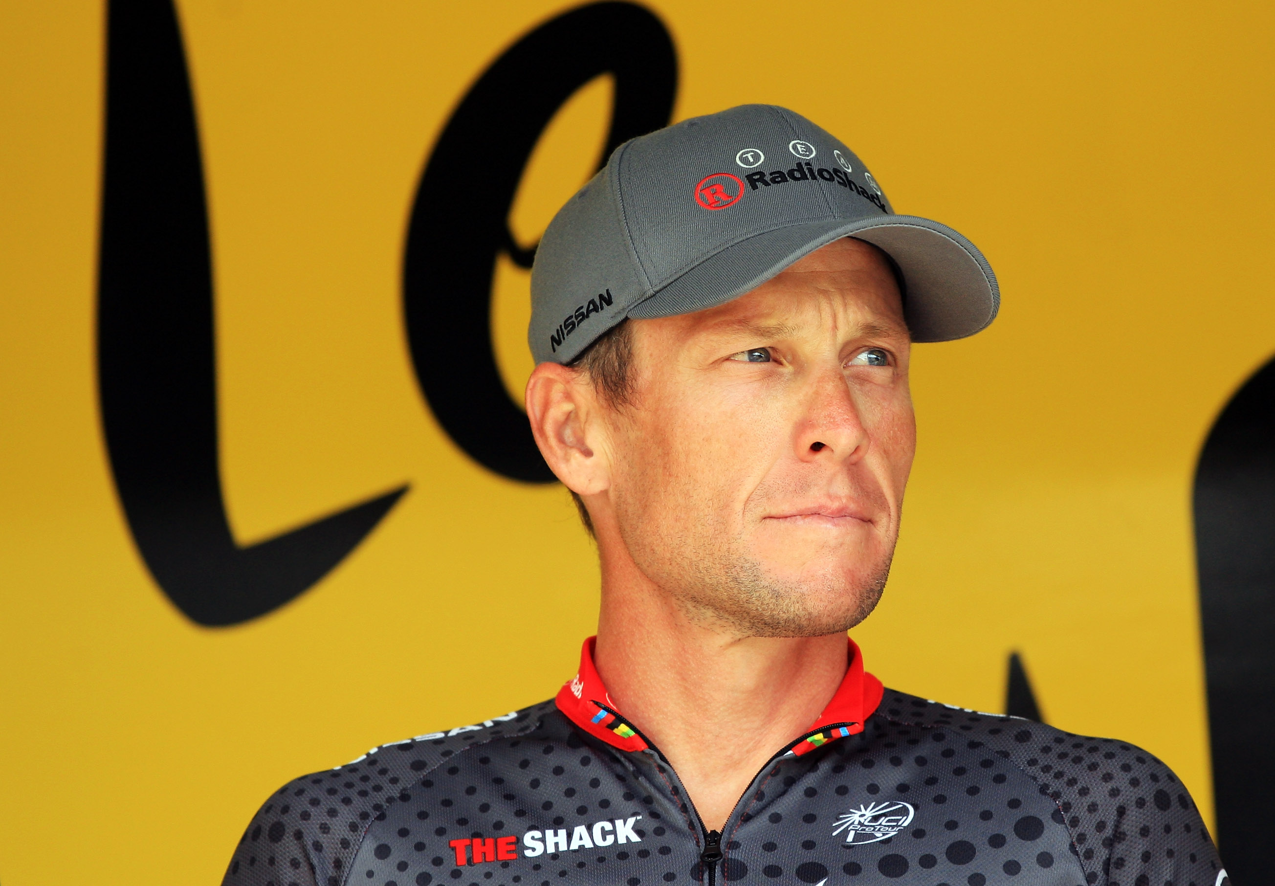 Lance Armstrong during stage twelve of the 2010 Tour de France from  Rodez to Revel on July 17, 2010 in Revel, France.