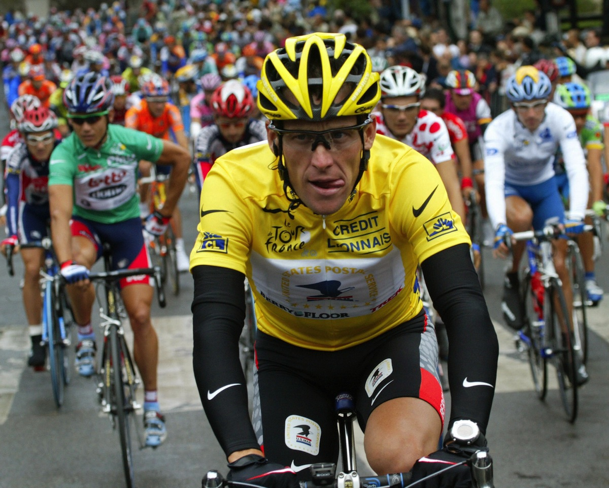Lance Armstrong takes the start of the 20th and last stage of the of the 90th Tour de France cycling race between Ville d'Avray and Paris Champs Elysees,  July 27, 2003.