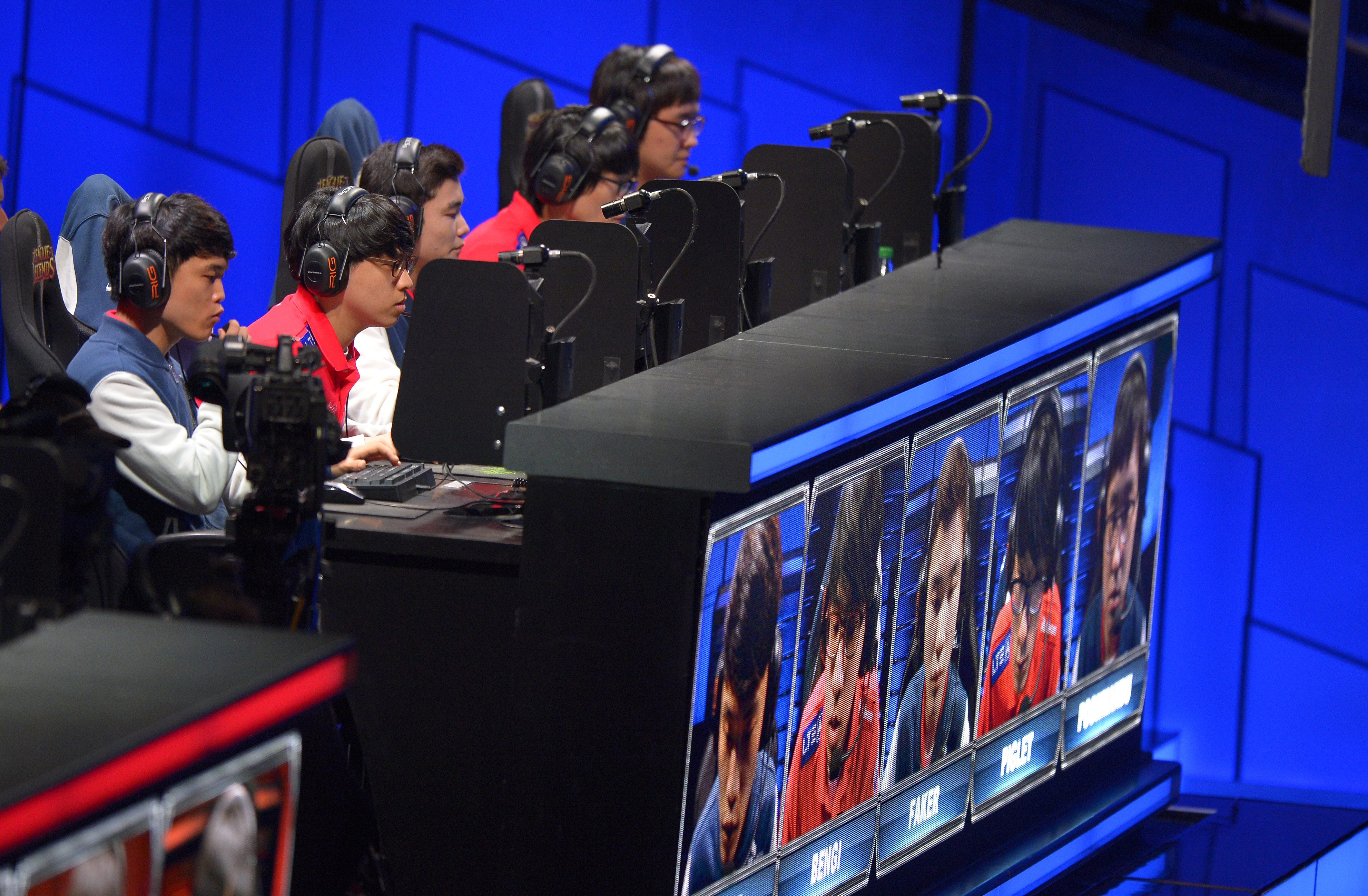 The team of SK Telecom T1 competes in the second round at the League of Legends Season 3 World Championship Final on Oct. 4, 2013, in Los Angeles.
