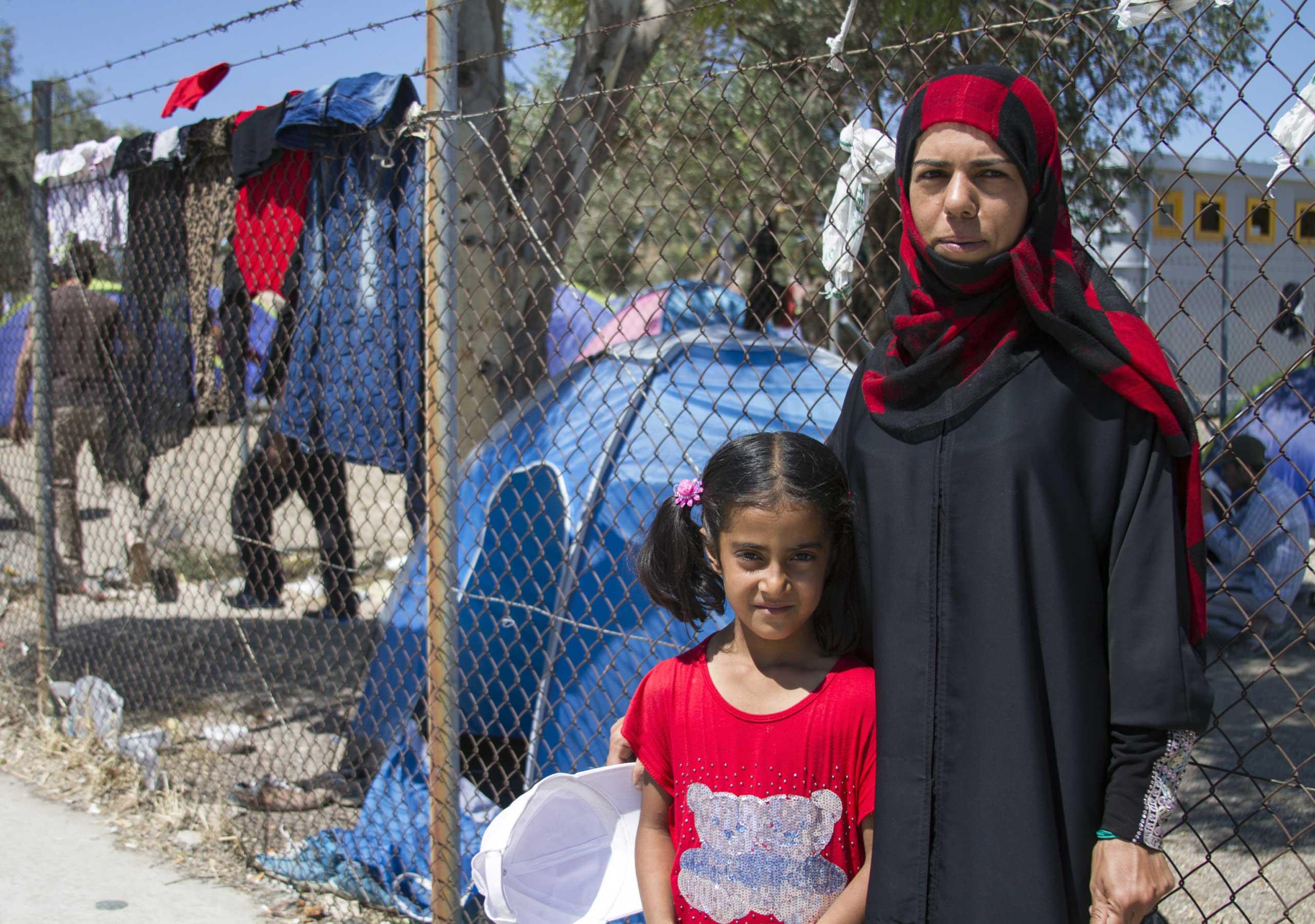 Jasoun Al Ahmad and her niece from Idlib, Syria, in Lesbos.