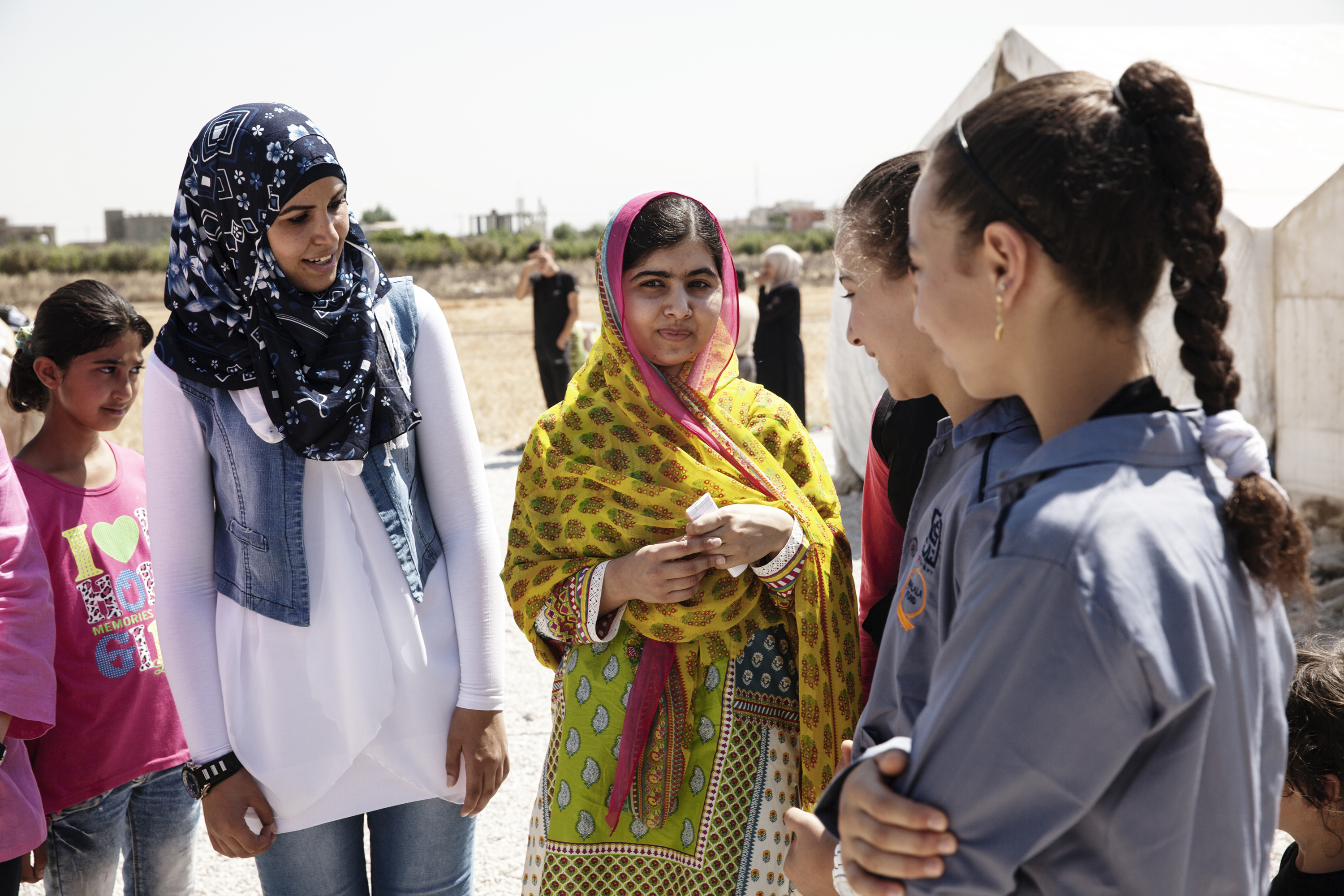 Malala Yousafzai with Syrian refugee girls in Lebanon.