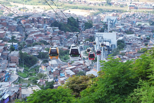 The cable cars in use in the city slums in Medellin, Colombia on January 5, 2013.