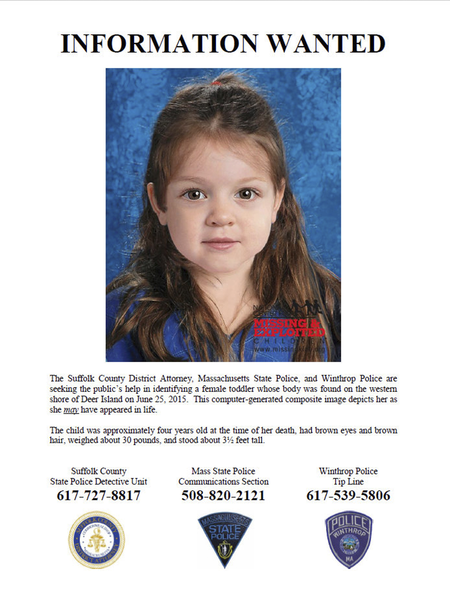 This flyer released on July 2, 2015, includes a computer-generated composite image depicting the possible likeness of a young girl, whose body was found on the shore of Deer Island in Boston Harbor on June 25, 2015.