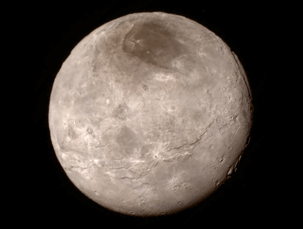 A close up view of Pluto's largest moon, Charon.