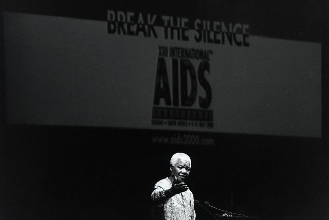 Mandela addresses a conference on AIDS in Durban, July 2000. Mandela is credited with breaking the conspiracy of silence that surrounded the disease in his home country.