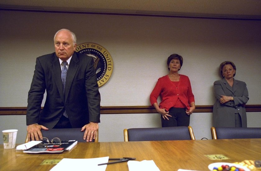 Vice President Cheney with Laura Bush, Lynne Cheney and Senior Staff in the President's Emergency Operations Center