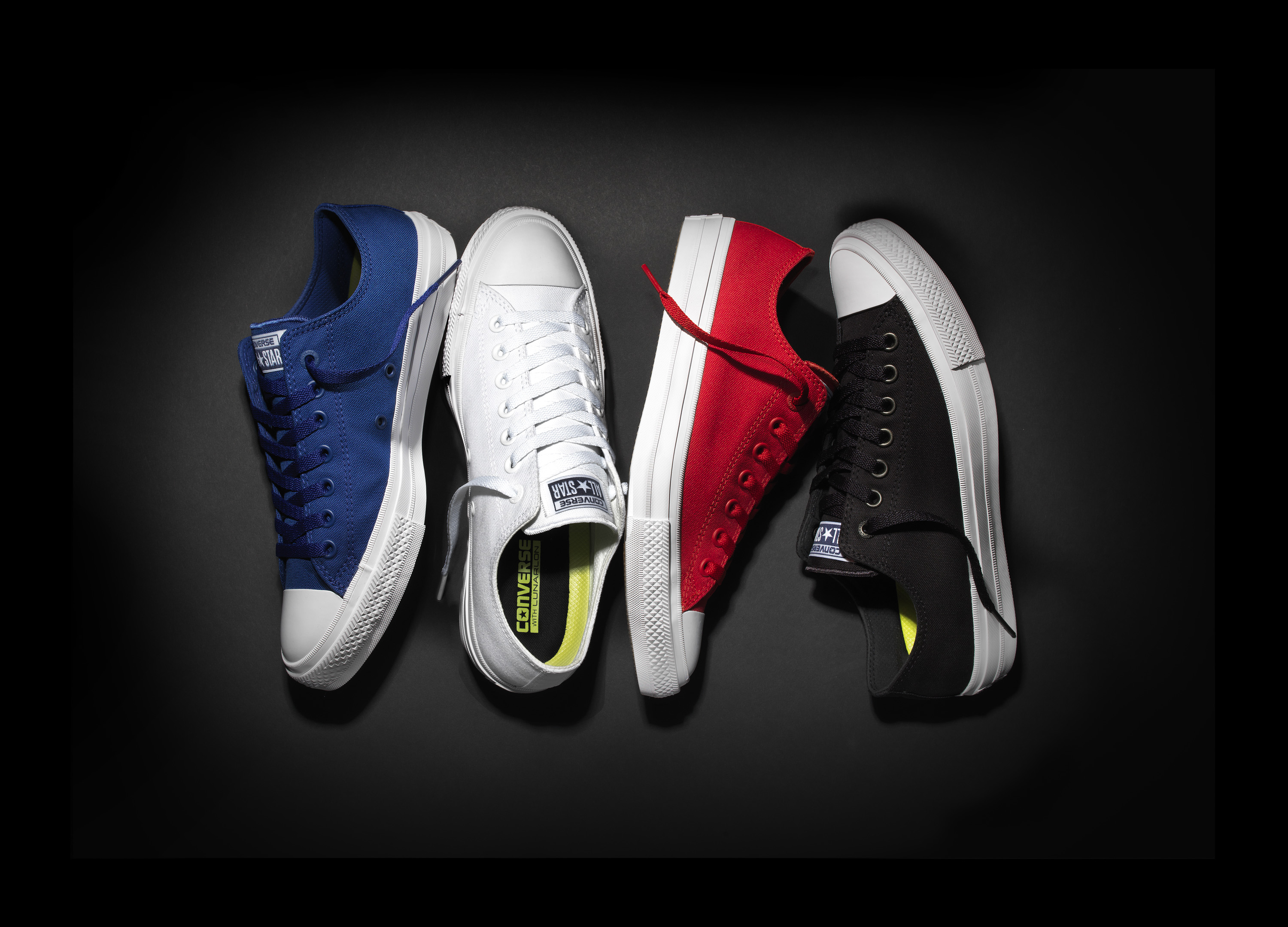 The new Fall 2015 Chuck Taylor All Star II sneaker in blue, white, red and black.
