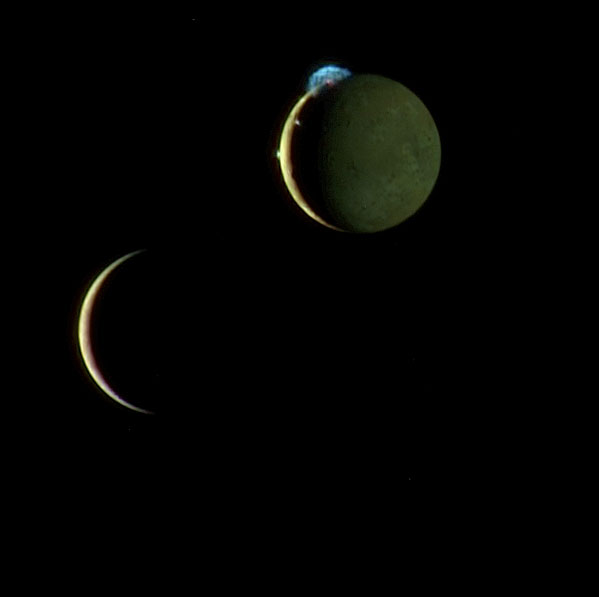 A montage of New Horizons' images of the crescents of Io and Europa taken March 2, 2007, about two days after New Horizons made its closest approach to Jupiter.