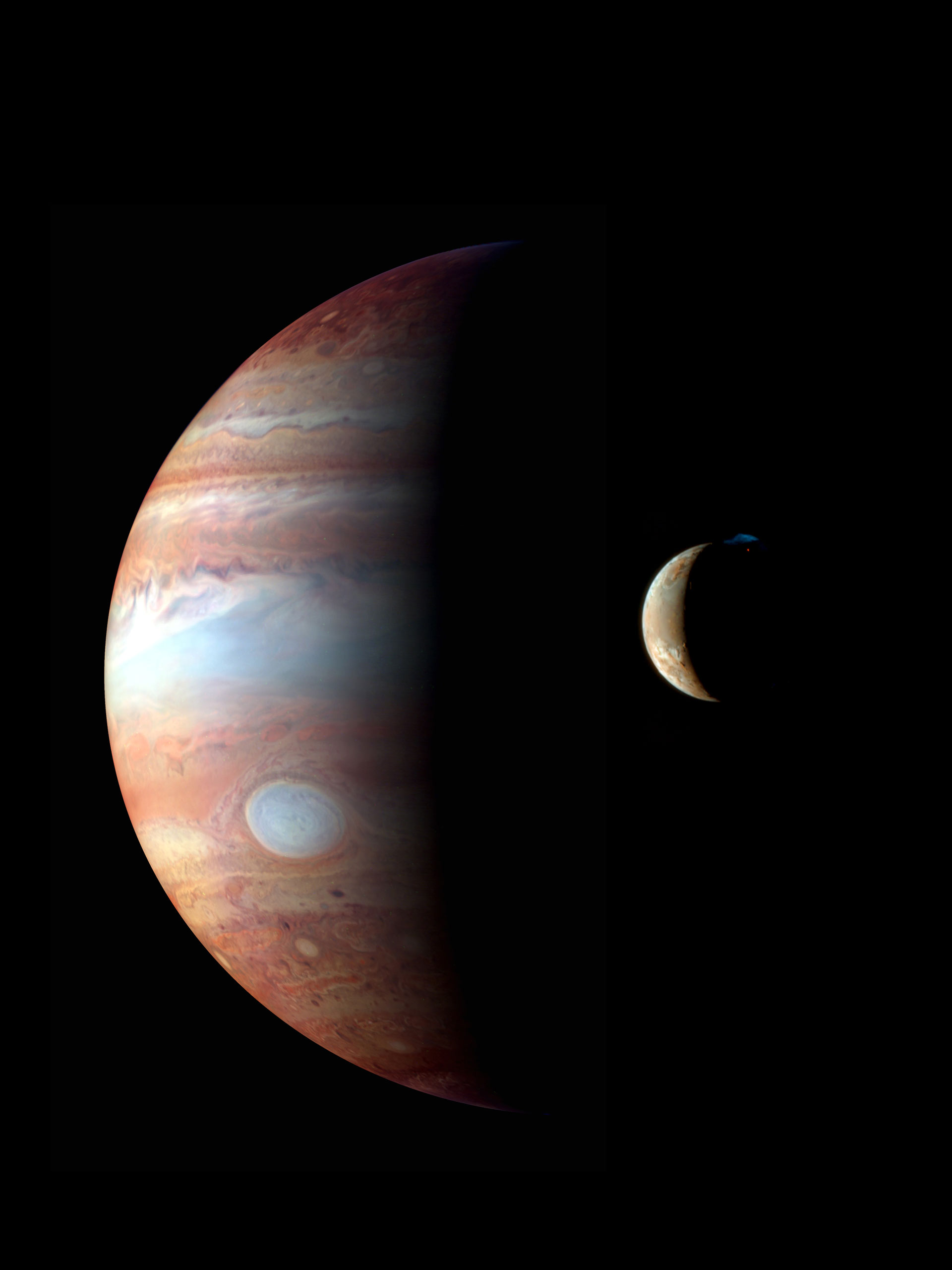 A montage of New Horizons' images of Jupiter and its volcanic moon Io, taken during the spacecraft's Jupiter flyby in early 2007.