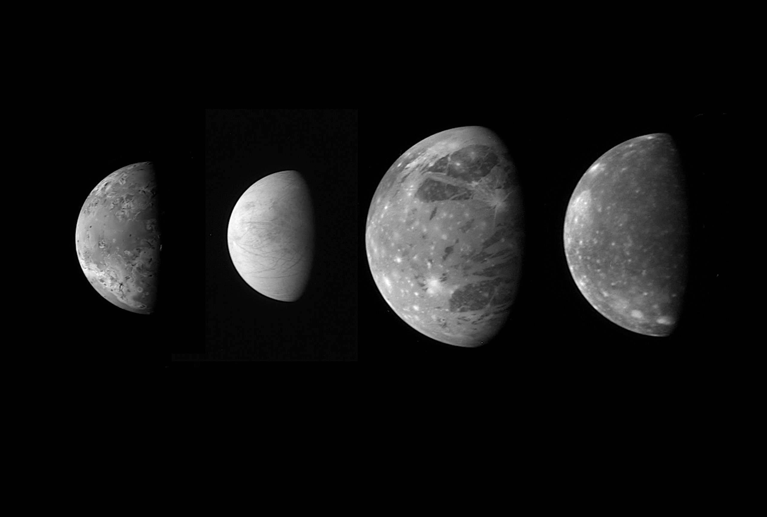 """A montage of the best views of Jupiter's four """"Galilean"""" satellites as seen by the Long Range Reconnaissance Imager (LORRI) on the New Horizons spacecraft during its flyby of Jupiter in late Feb. 2007. The four moons are, from left to right: Io, Europa, Ganymede and Callisto. The images have been scaled to represent the true relative sizes of the four moons and are arranged in their order from Jupiter."""