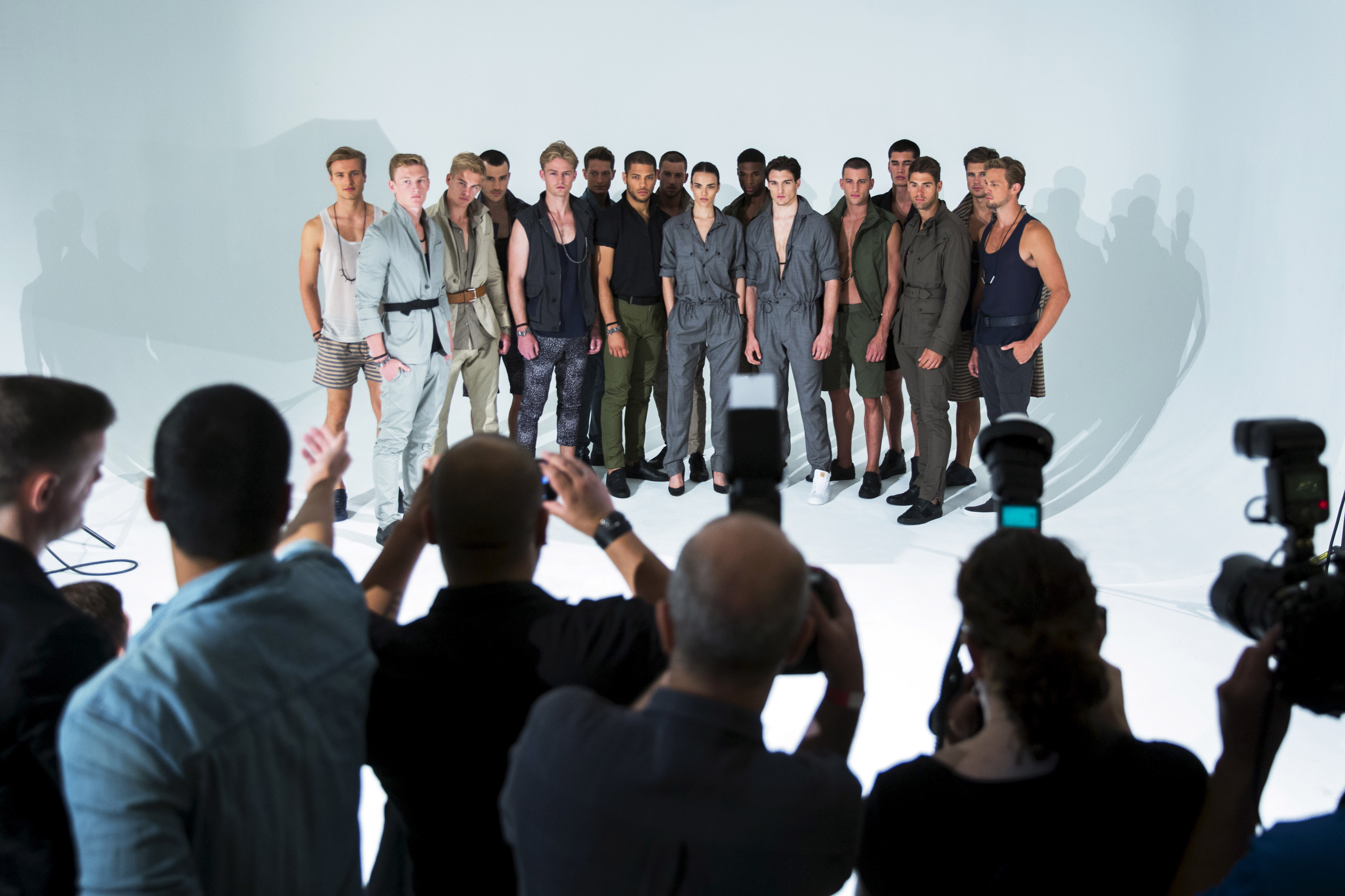 Models stand on stage for the Cadet presentation during New York Fashion Week: Men's.