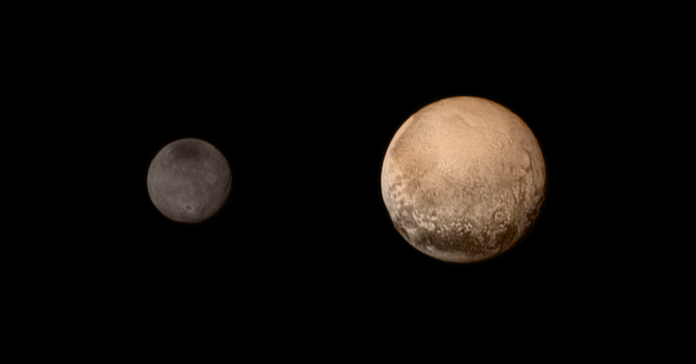 Pluto and Charon display striking color and brightness contrast in this composite image from July 11.