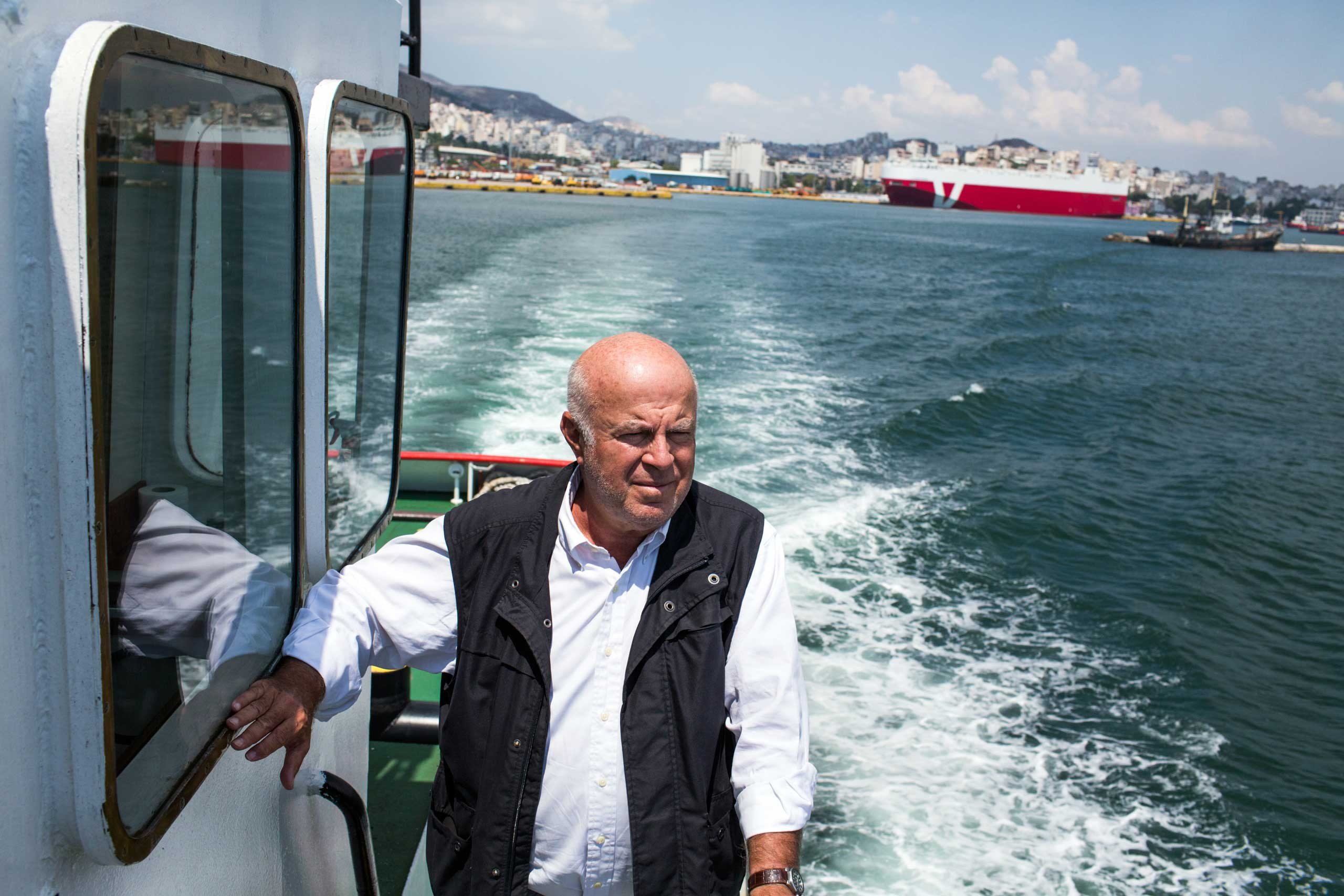 Shipping tycoon Nicos Vernicos pictured on one of his tugs at Piraeus Port, in Athens on July 1, 2015.